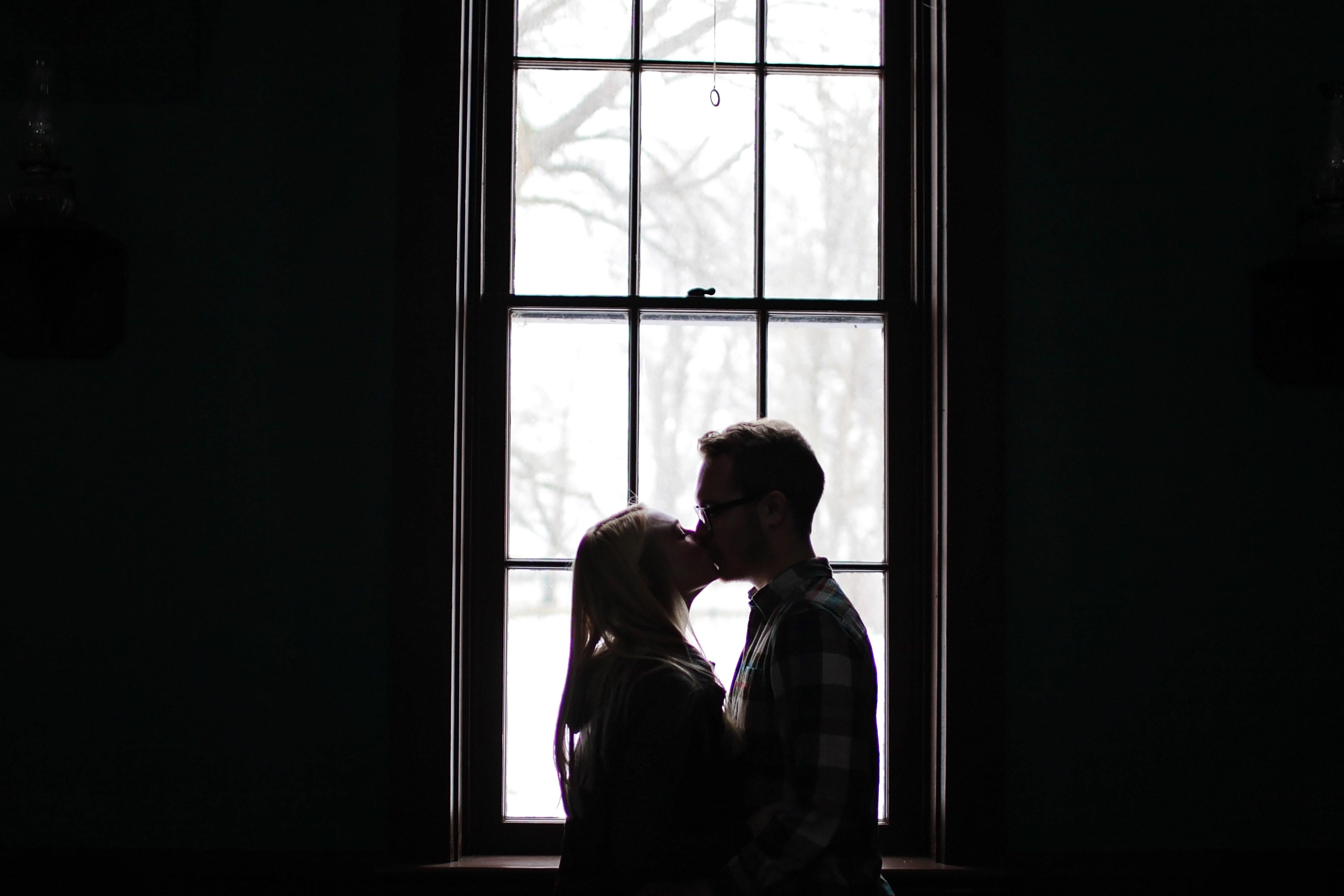 Man and Woman Kissing Beside Window, Affection, Love, Window, Wear, HQ Photo