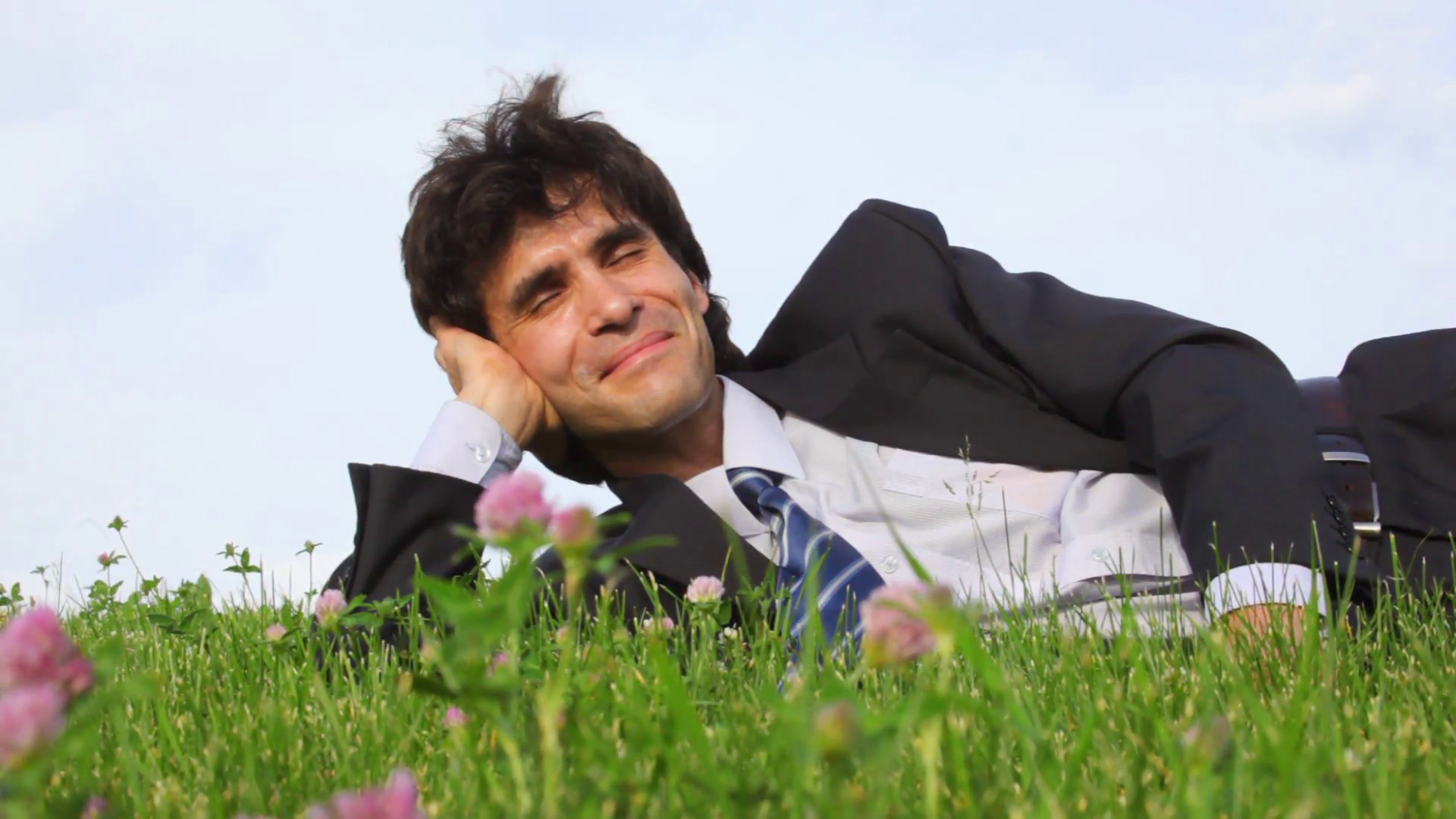 happy handsome man lying on green grass and field flowers Stock ...