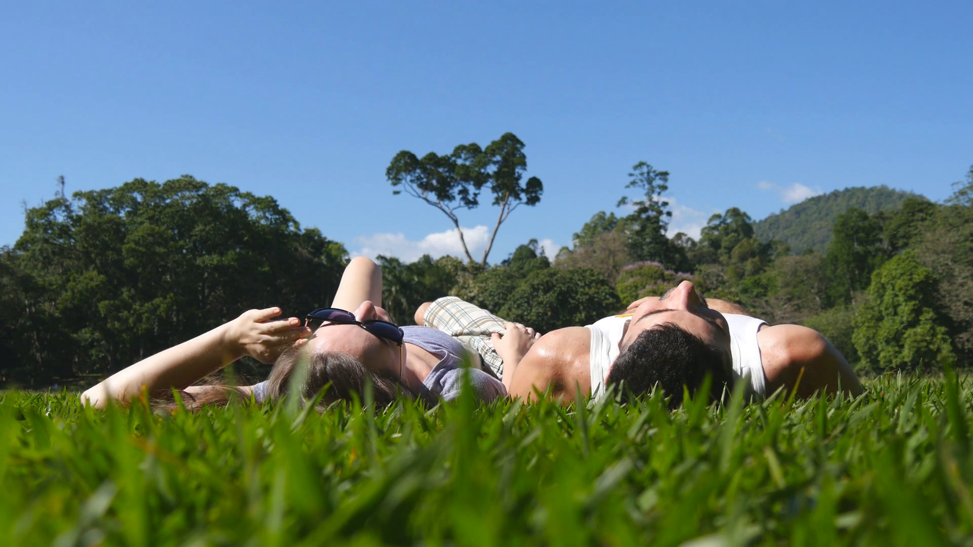 Young couple lying on green grass in park and relaxing. Man and ...