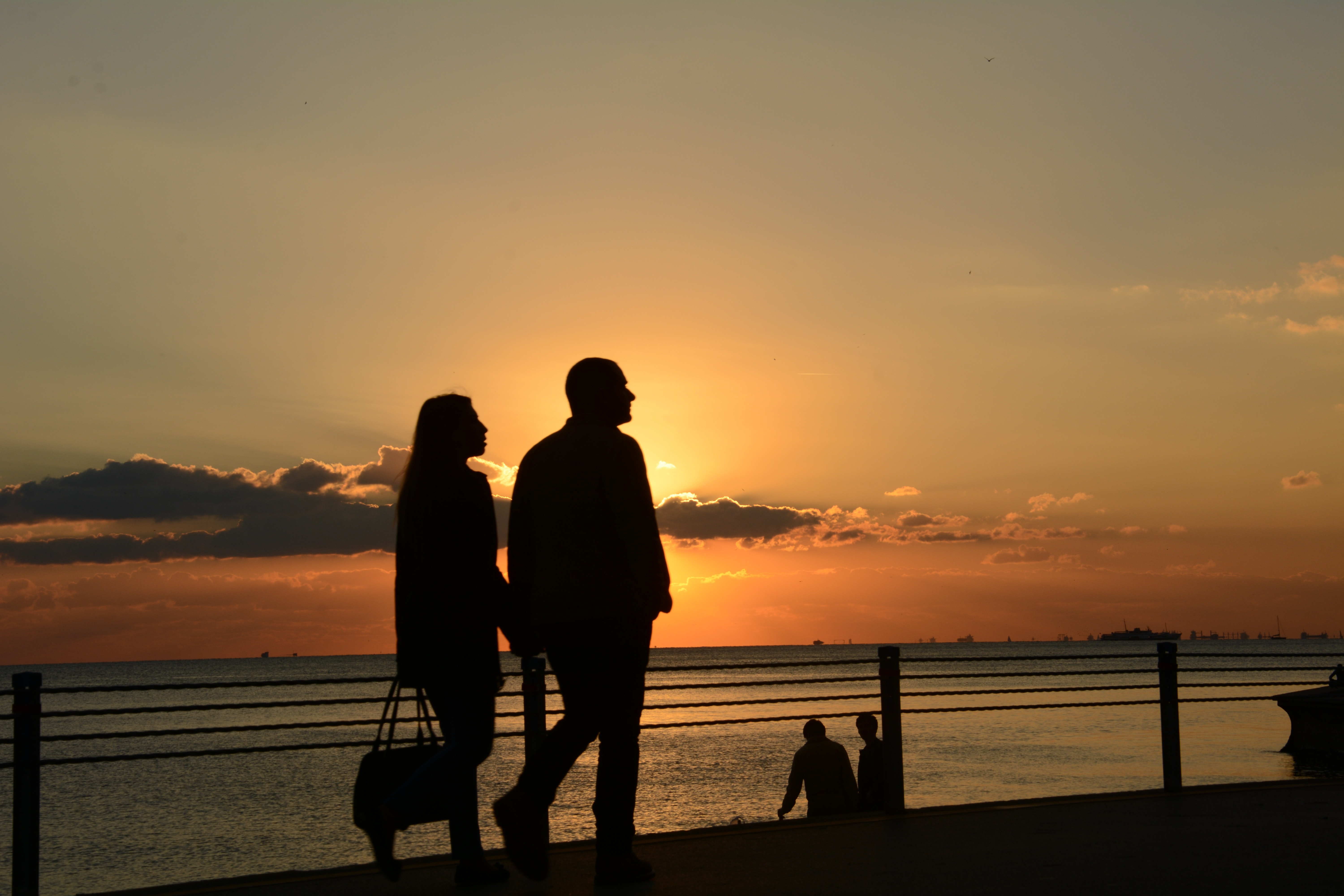 Man and Woman Silhouette Walking during Sunset, Clouds, Evening, Holiday, Nature, HQ Photo