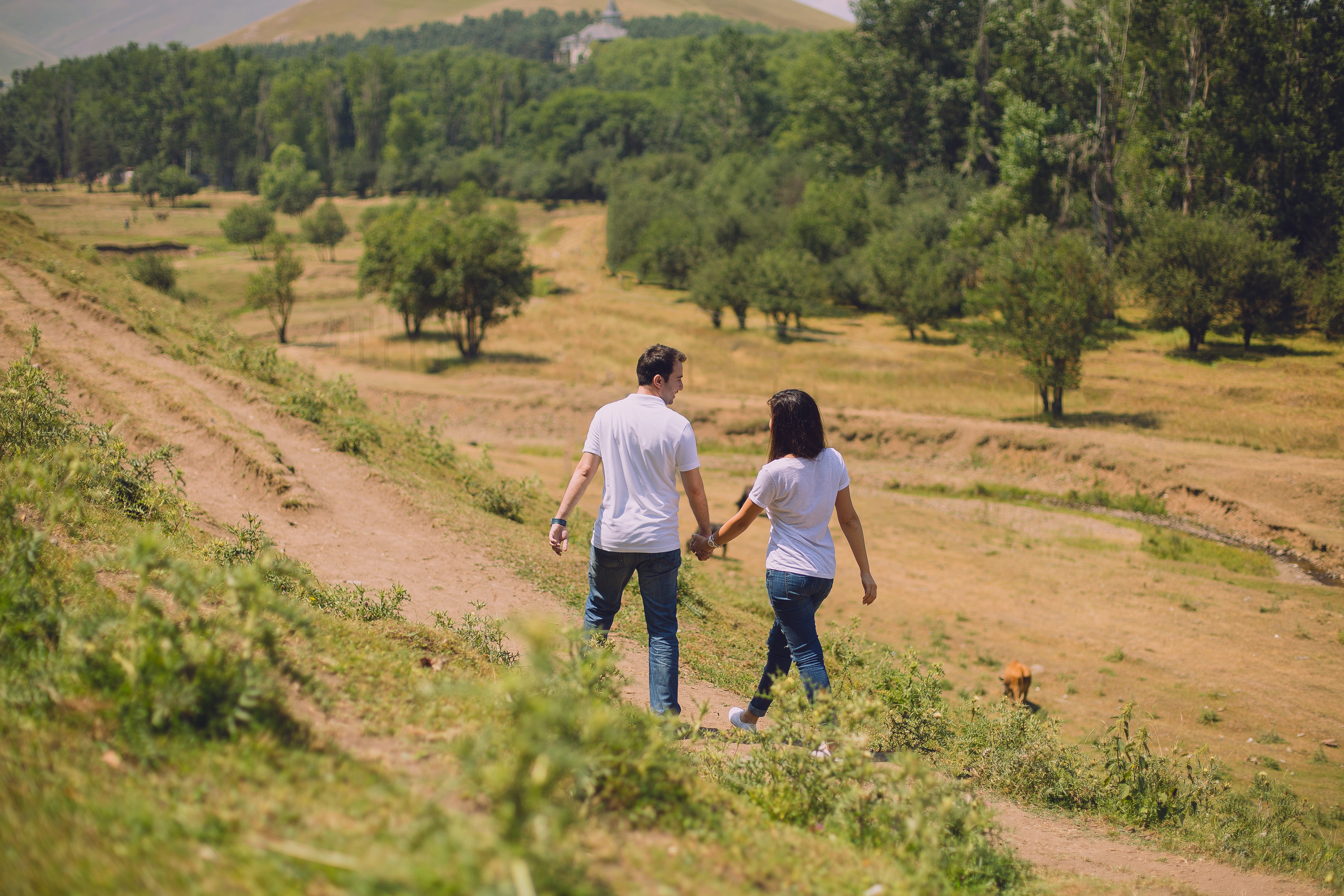 Man and woman walking photo