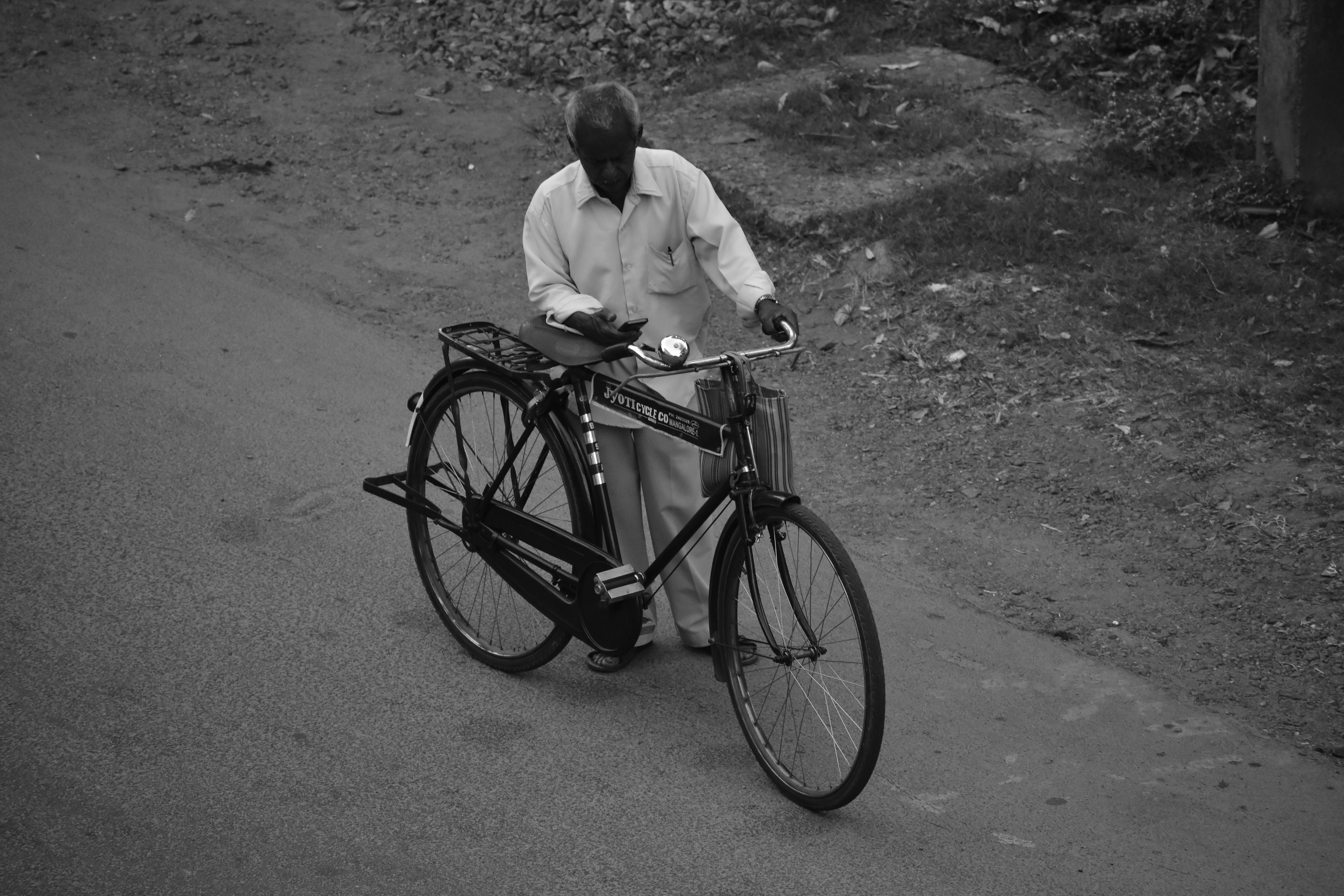 Man Beside Bicycle, Adult, Bicycle, Bike, Black and white, HQ Photo
