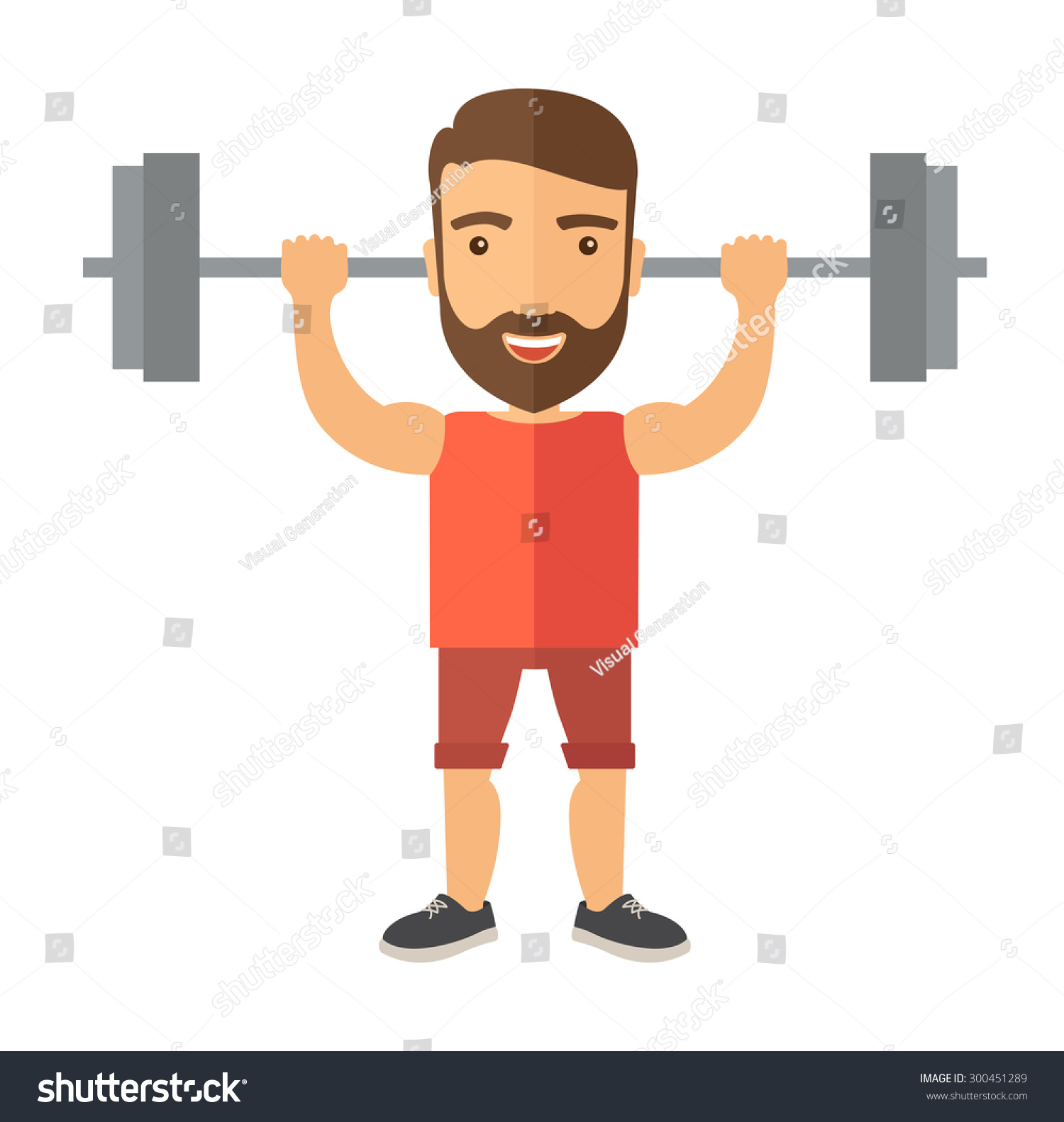 Handsome Caucasian Man Lifting Barbell Fitness Stock Vector ...