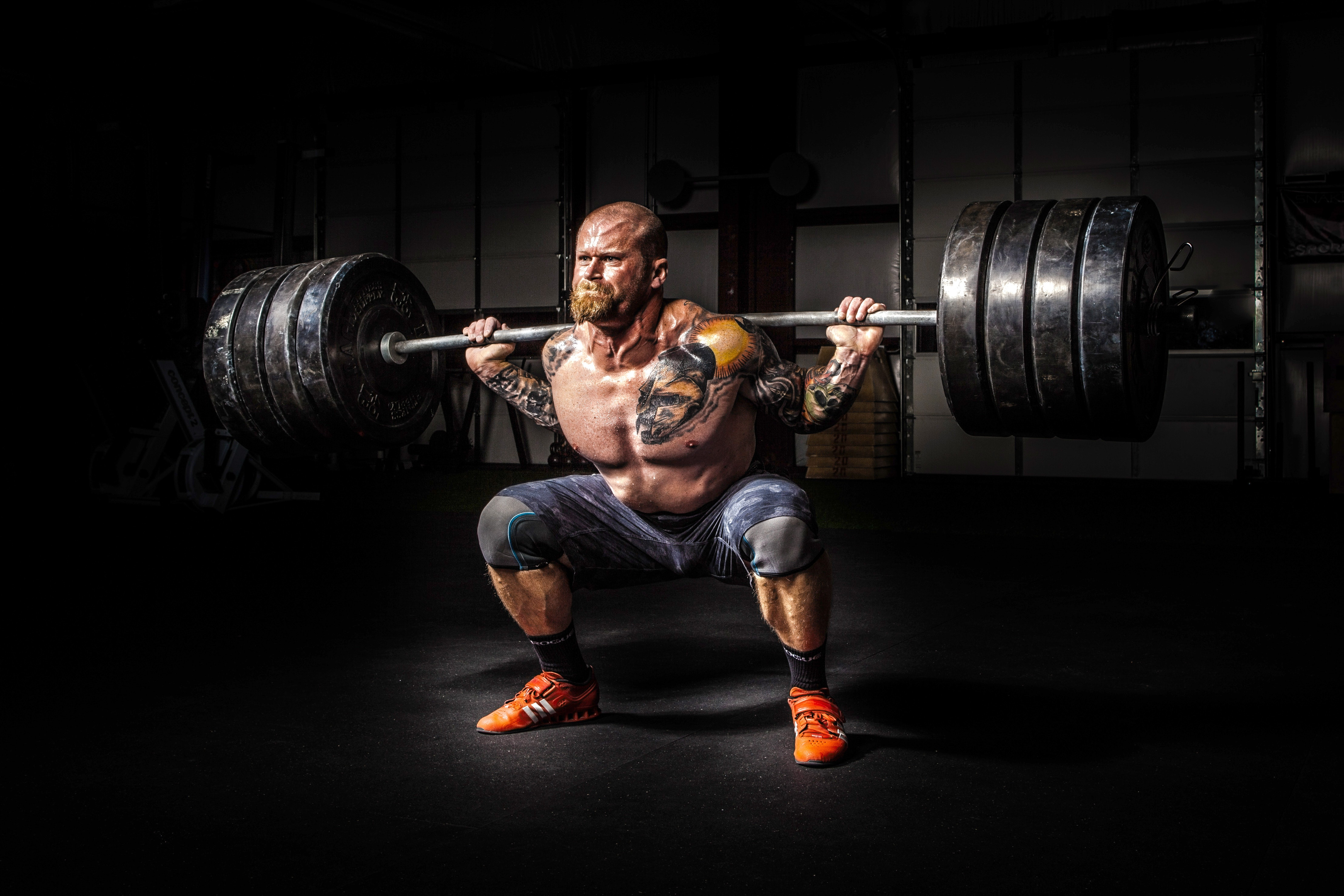 Free stock photo of adult, barbell, body