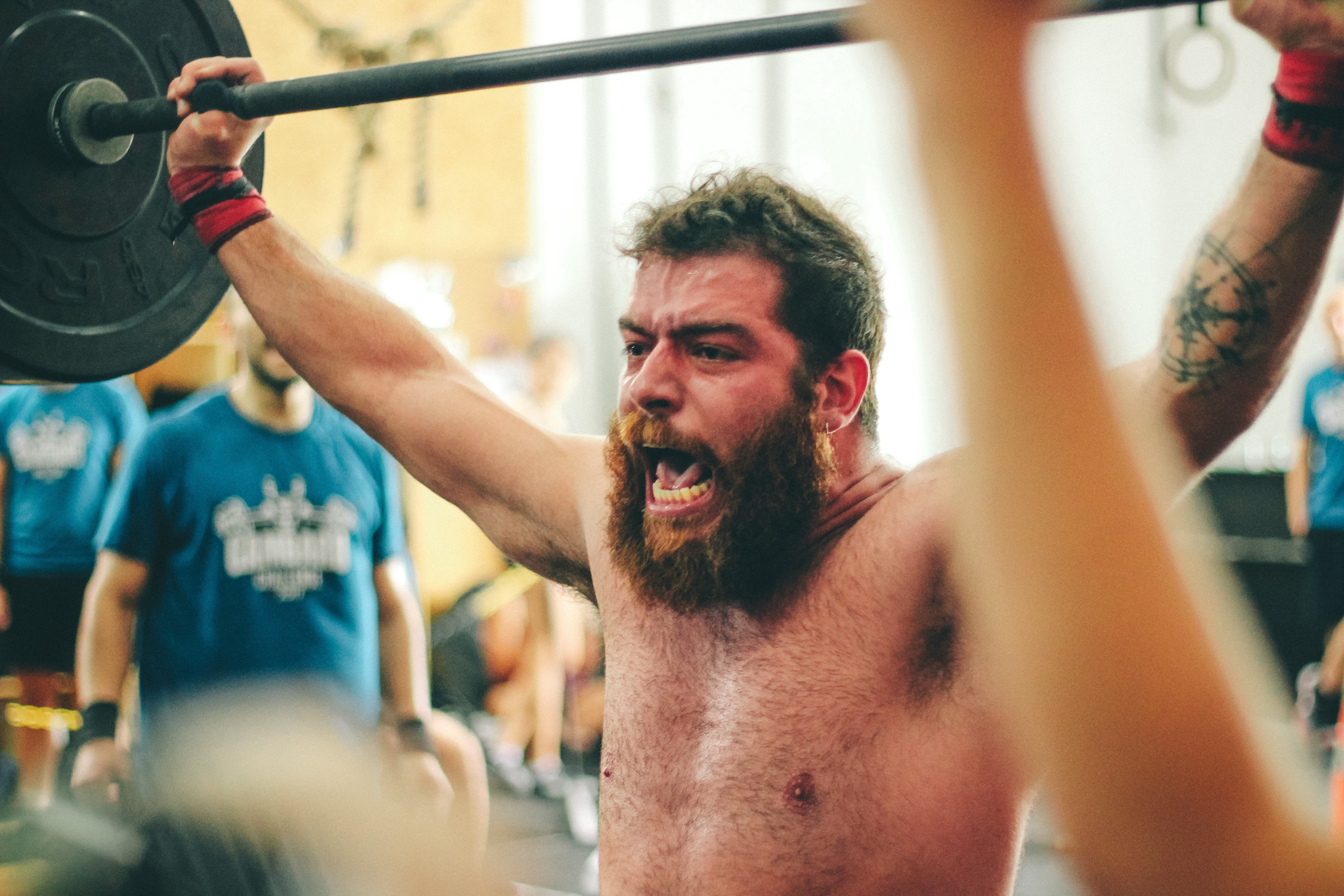 Man Carrying Black Barbell, Adult, Gym, Weightlifting, Training, HQ Photo