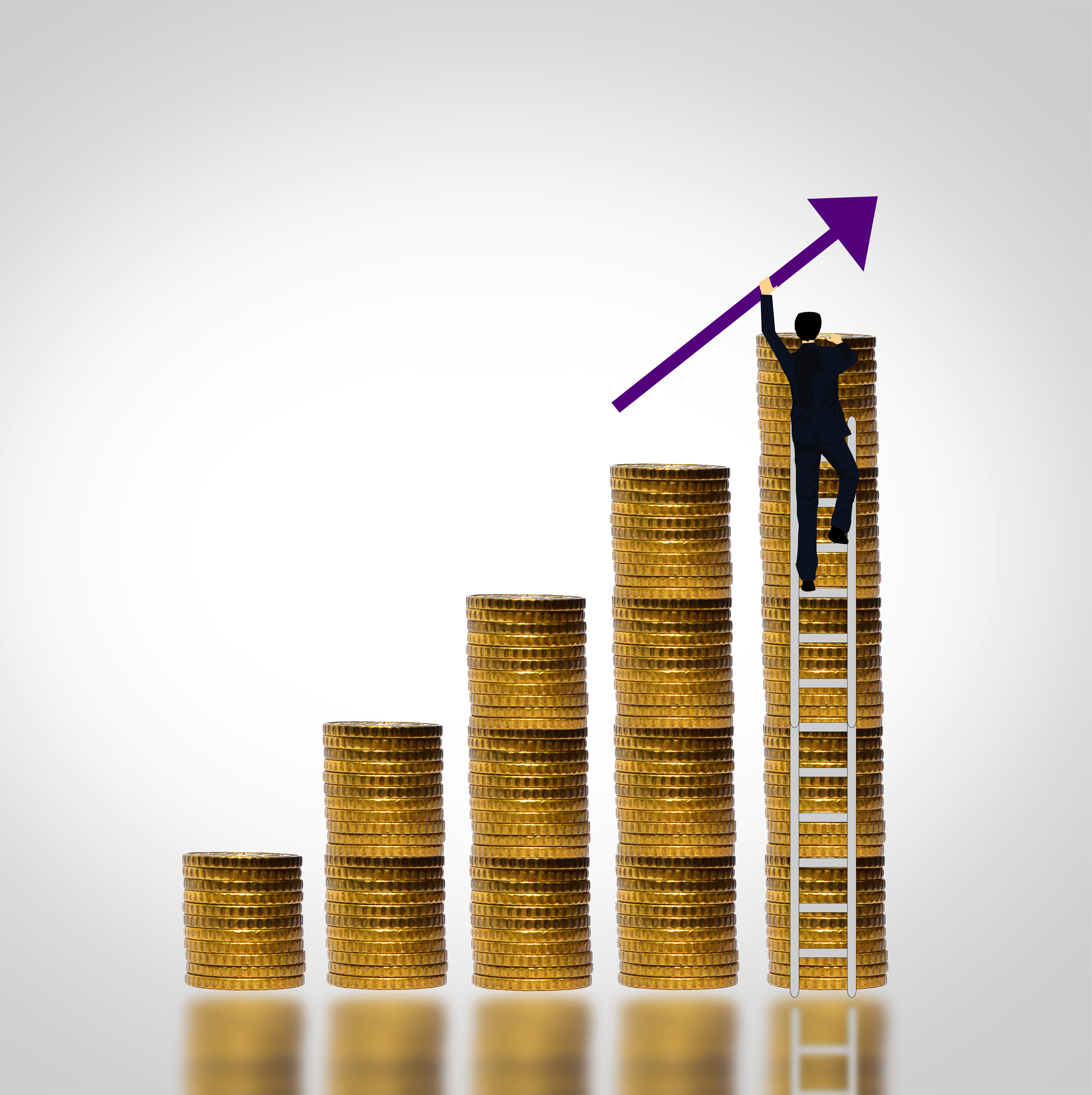 Man climbing coin stack - money growth photo