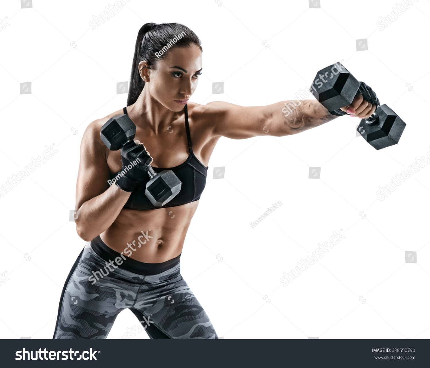 Strong Woman Doing Boxing Exercises Making Stock Photo 638550790 ...
