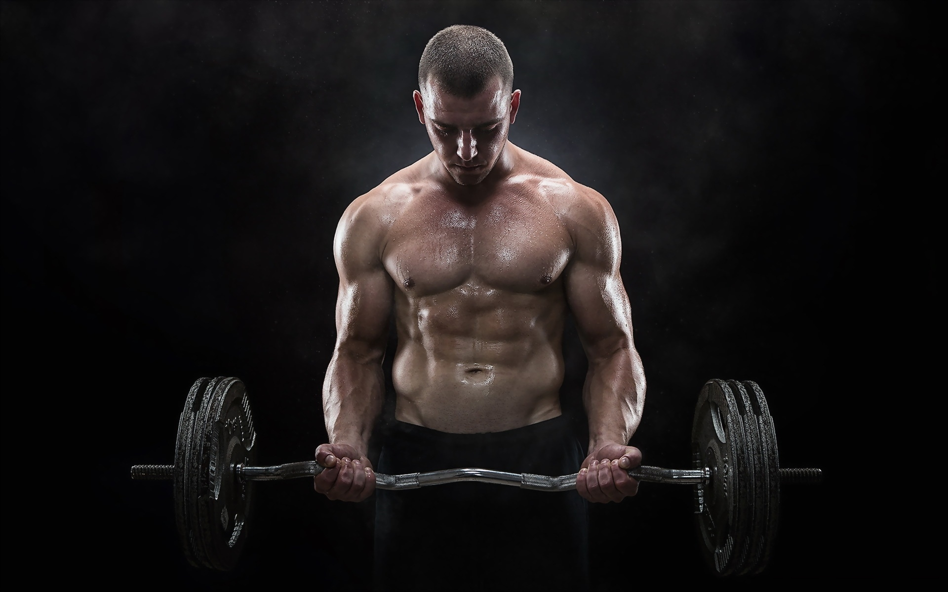 Man with barbell, bodybuilding - HD wallpaper download. Wallpapers ...
