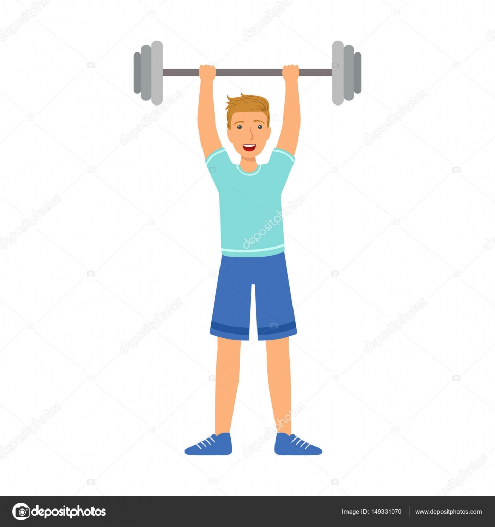 Strong man holding barbell on the raised hands. Colorful cartoon ...