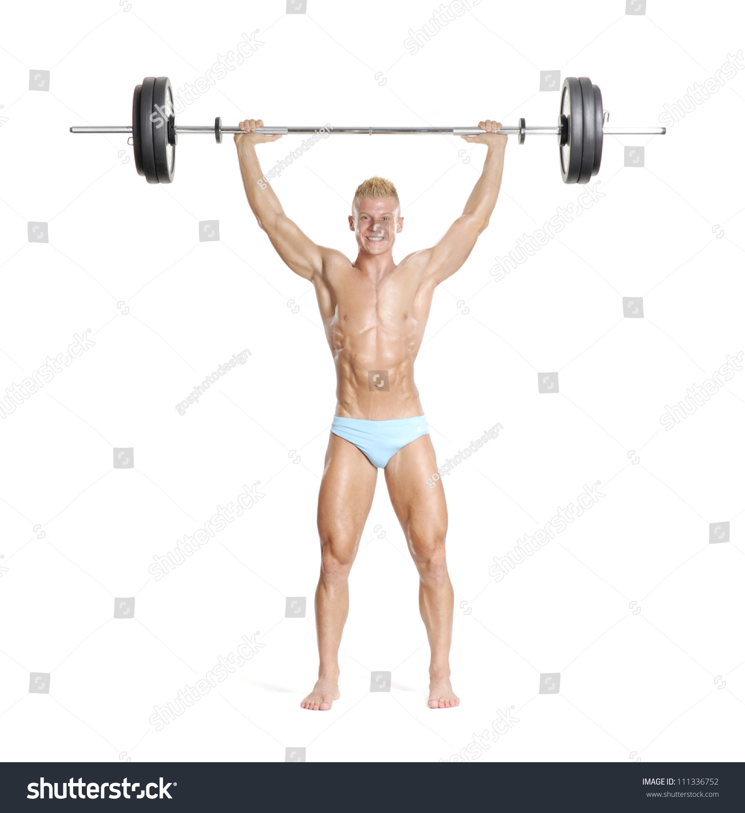 Young Strong Man Holding Barbell Stock Photo (Download Now ...