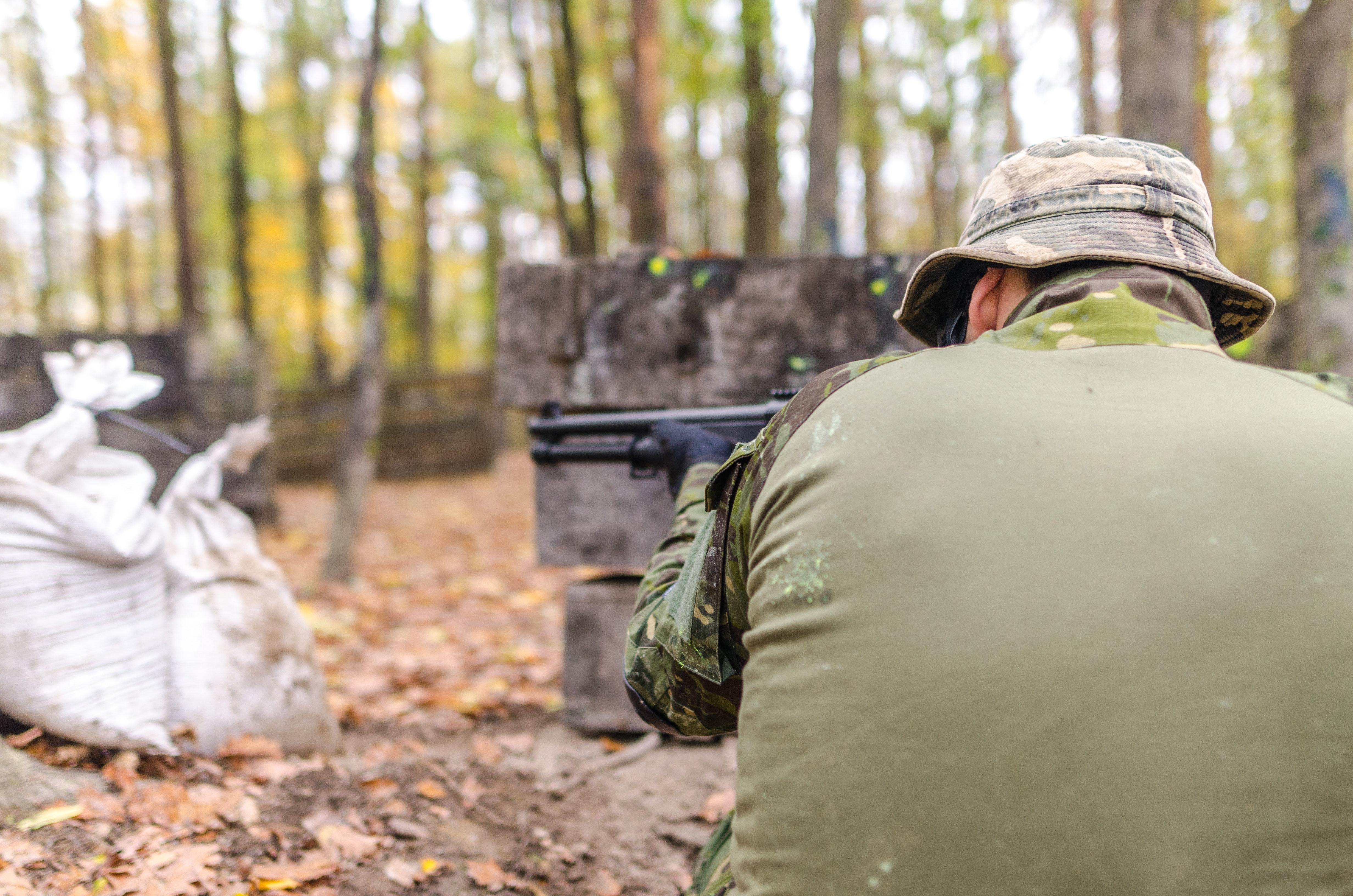Man Holding Rifle, Action, Gun, Weapon, Uniform, HQ Photo