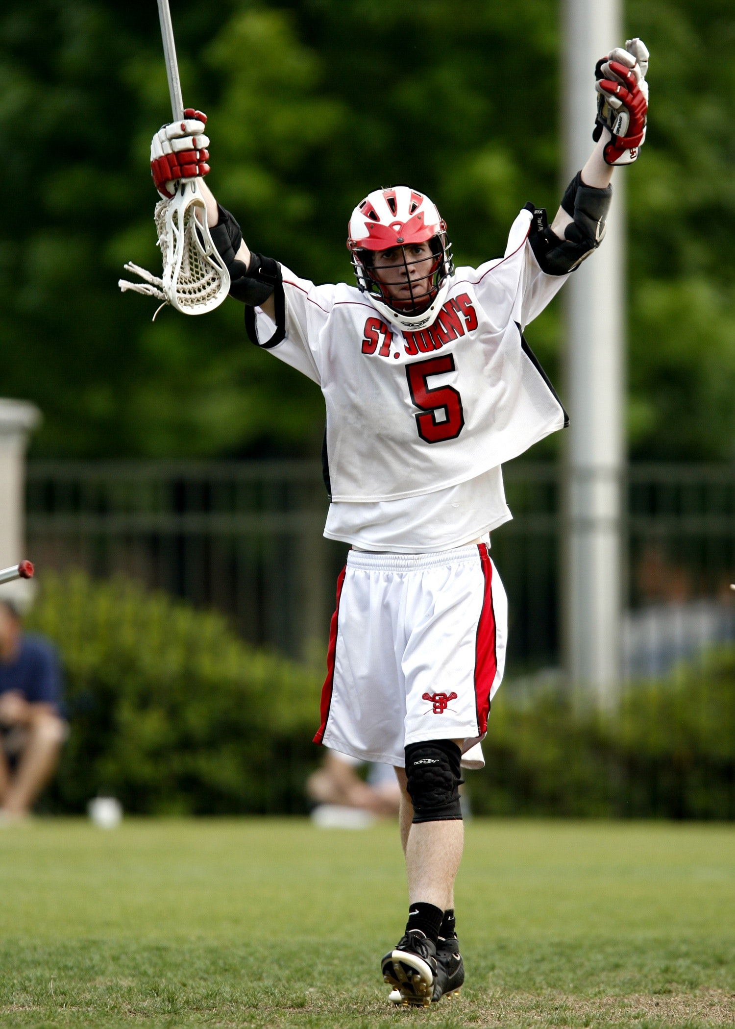 Man Holding White Lacrosse Stick Standing on Green Grass Field during Daytime, Athlete, Field, Fun, Game, HQ Photo