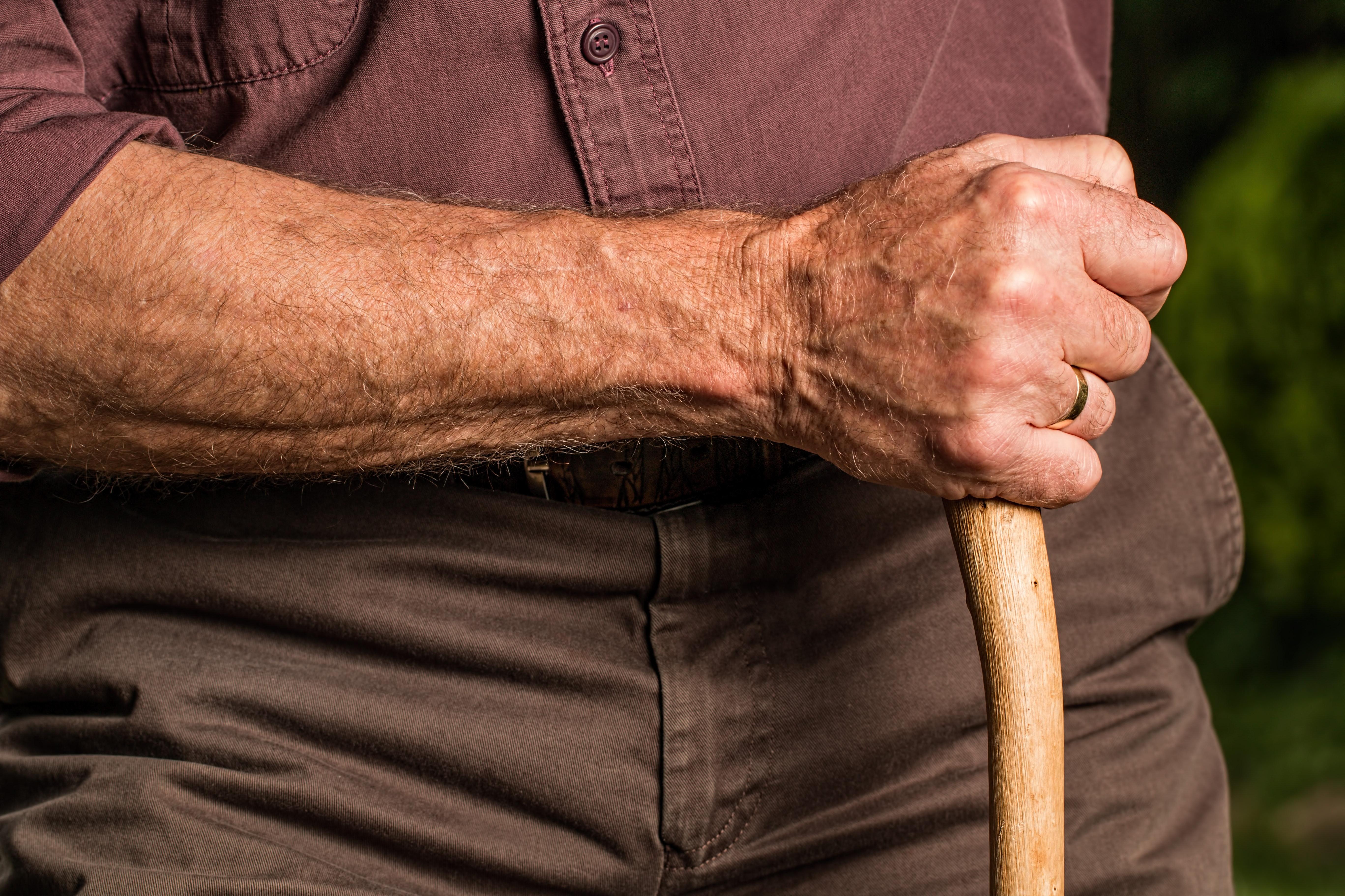 Man Holding Wood Cane, Aged, Arm, Cane, Elder, HQ Photo