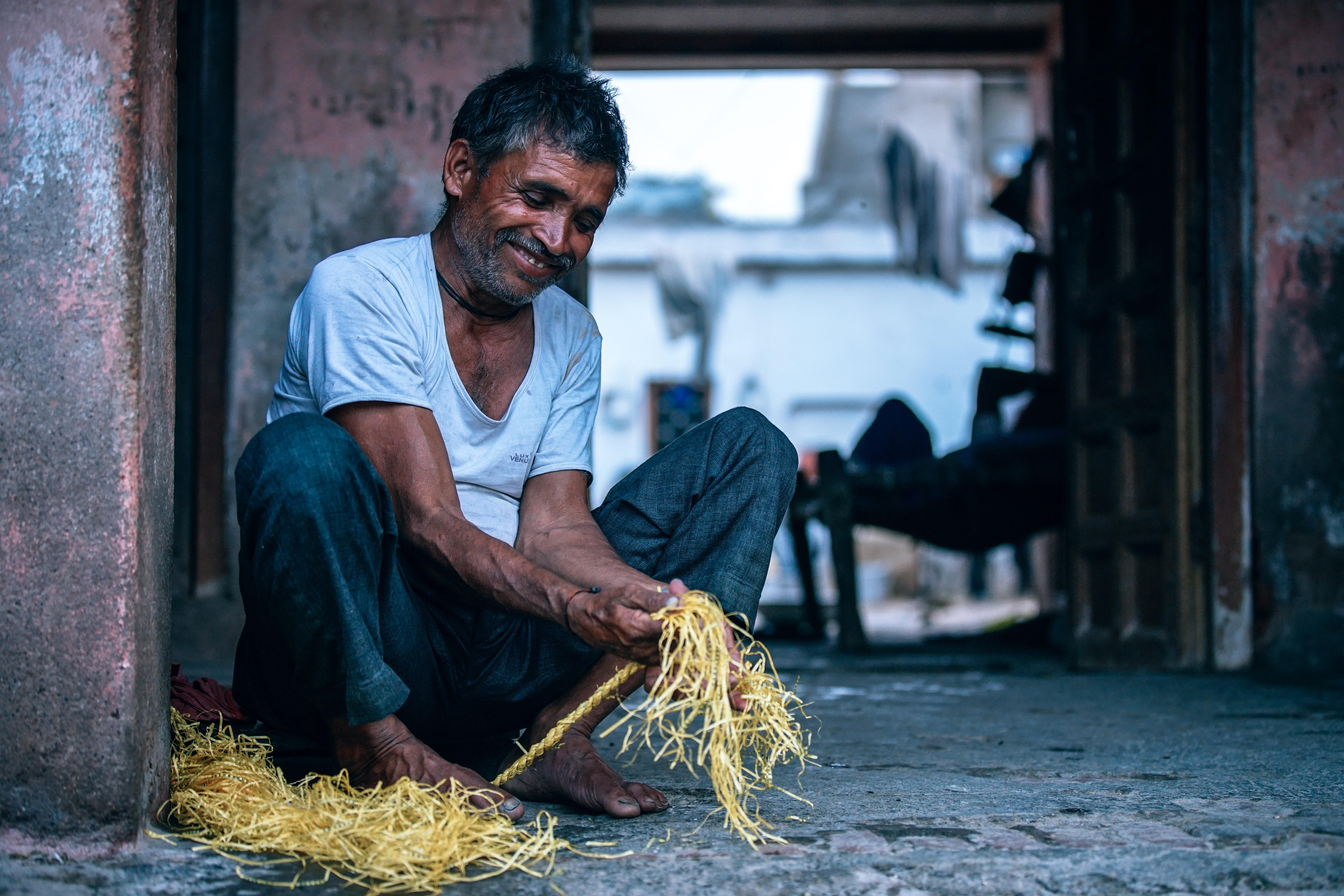 Man Holding Yellow String, Senior, Working, Wicker, Weaving, HQ Photo