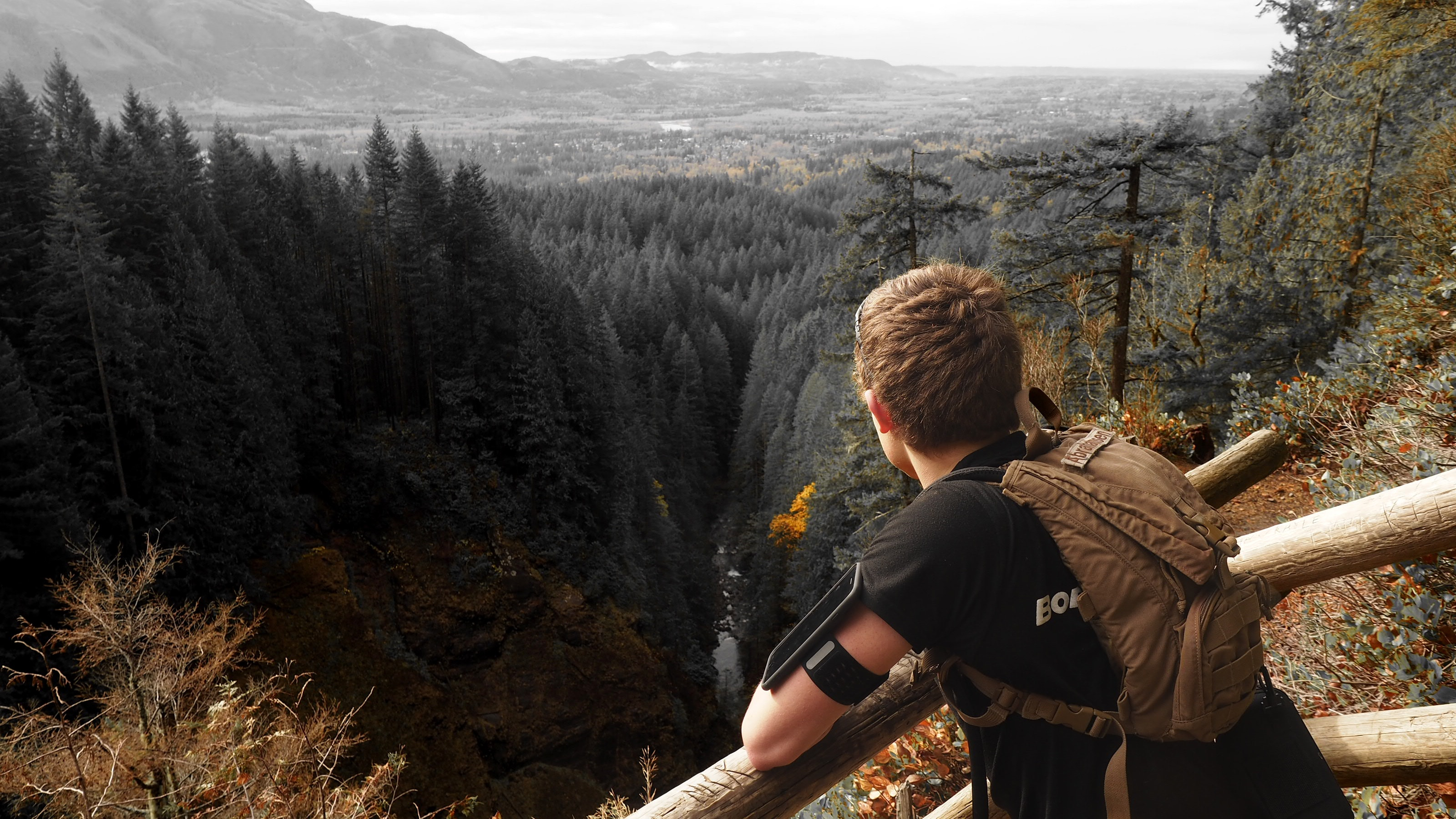 Man in black shirt and brown backpack leaning on brown wooden handrail looking over green leaf pine trees and creek photo