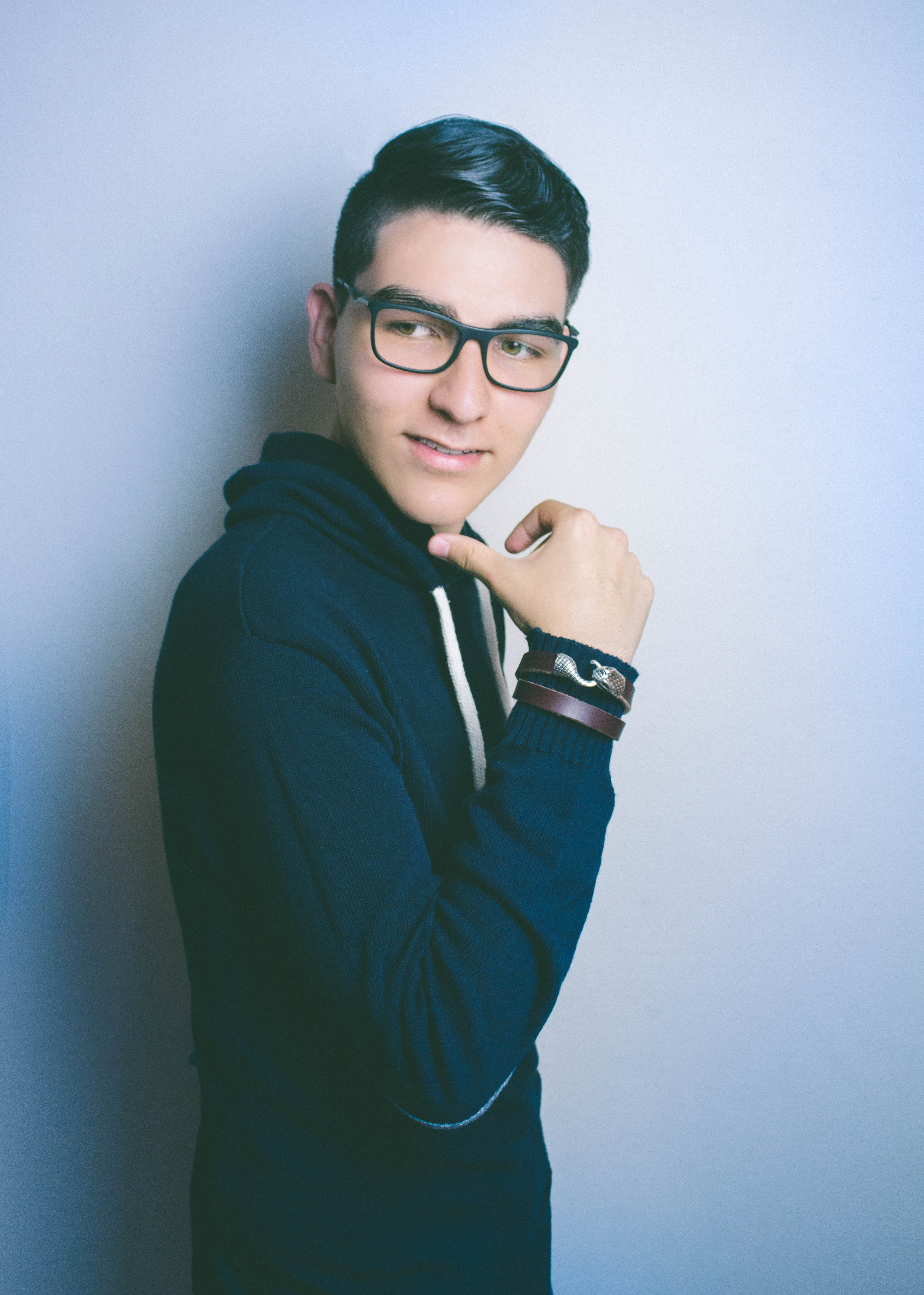 Man in Blue Hooded Jacket and Black Framed Eyeglasses, Smile, Pose, Photoshoot, Smiling, HQ Photo