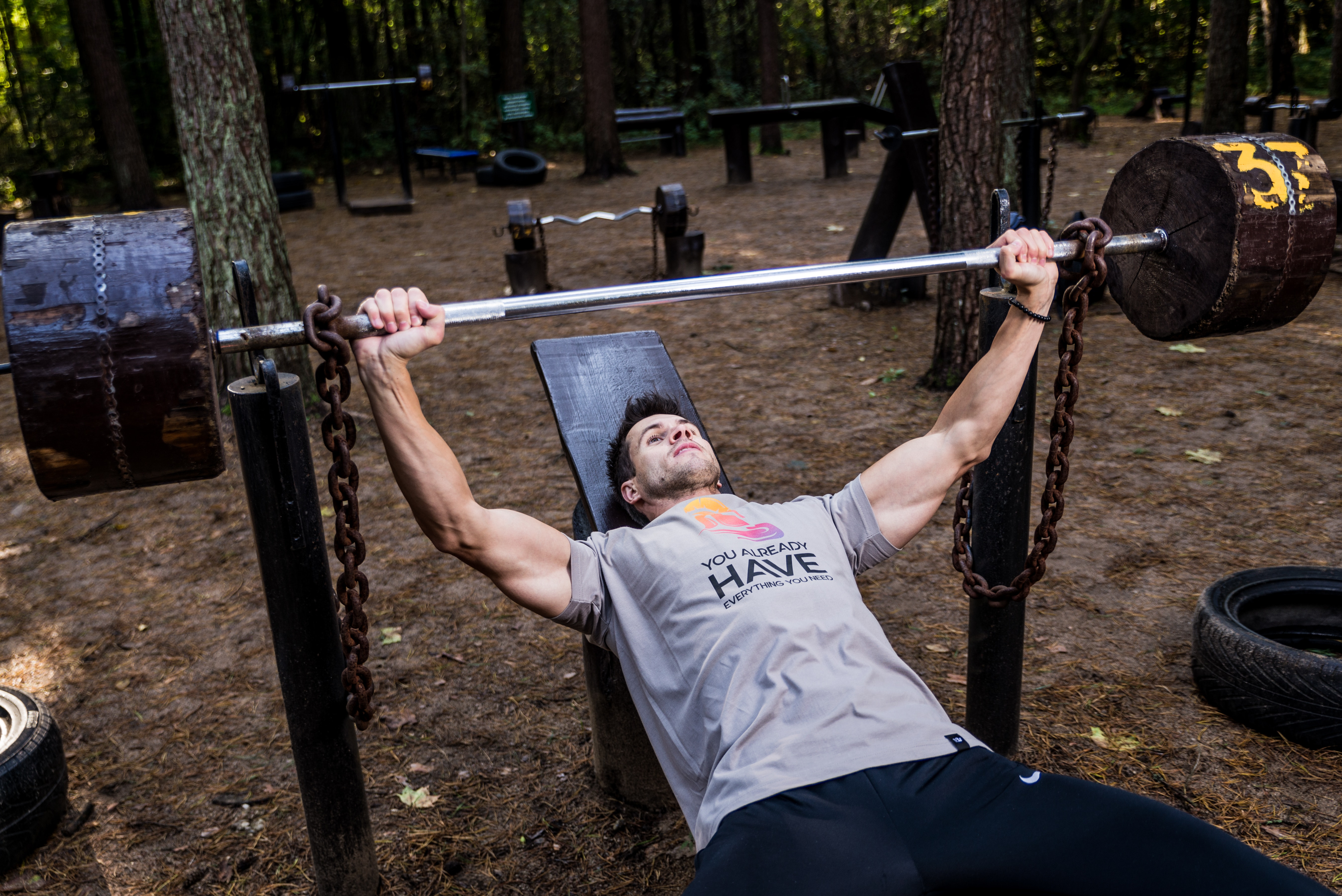 Man in Grey Shirt and Black Bottom Lifting Barbell, Action, Athlete, Barbell, Bench, HQ Photo