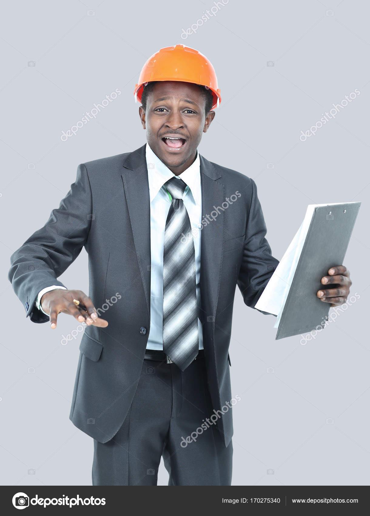 Portrait of happy smiling business man in helmet — Stock Photo ...