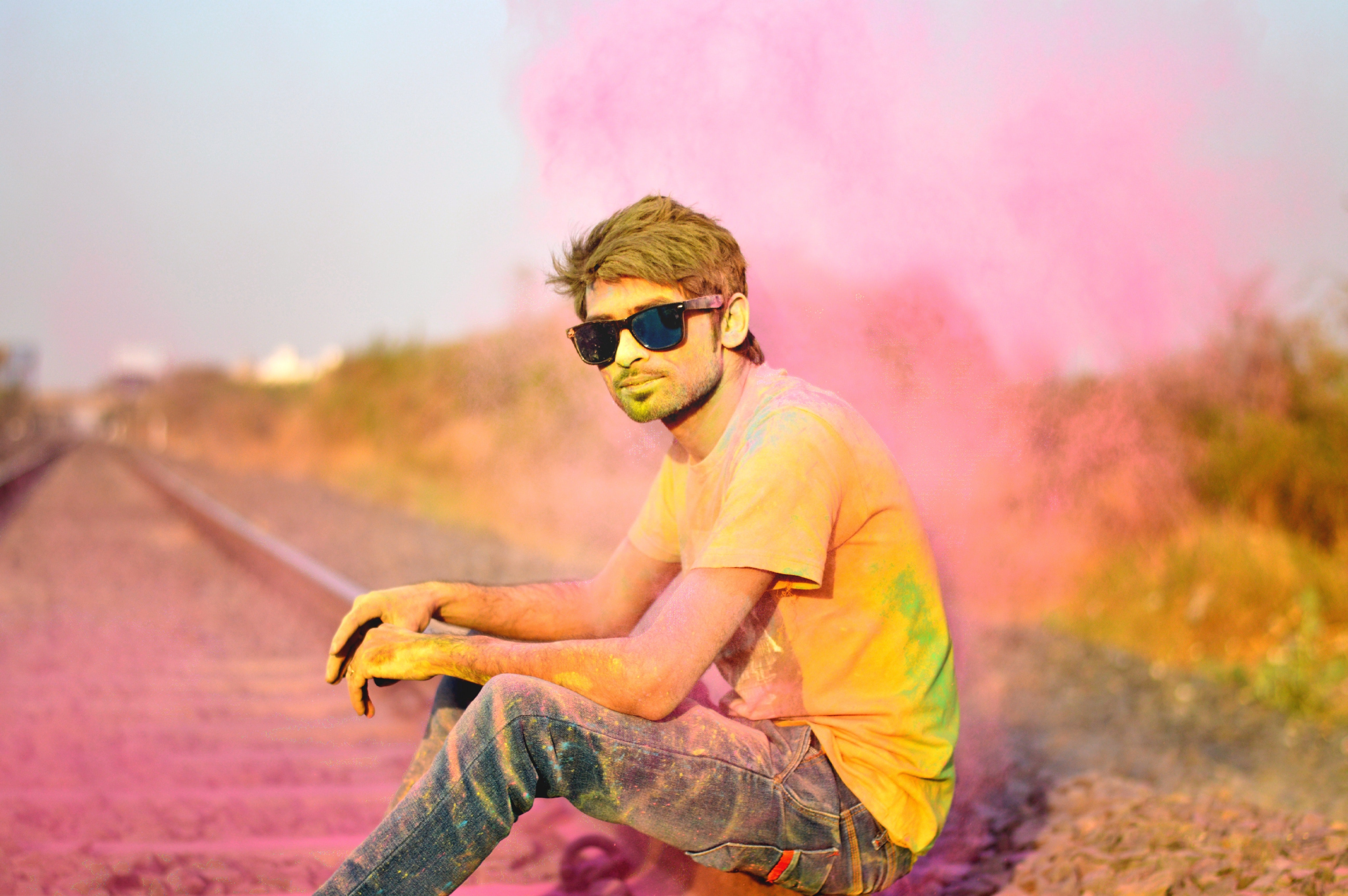 Man in T-Shirt and Jeans and Sunglasses Color Power, Color, Colorful, Colourful, Creative, HQ Photo