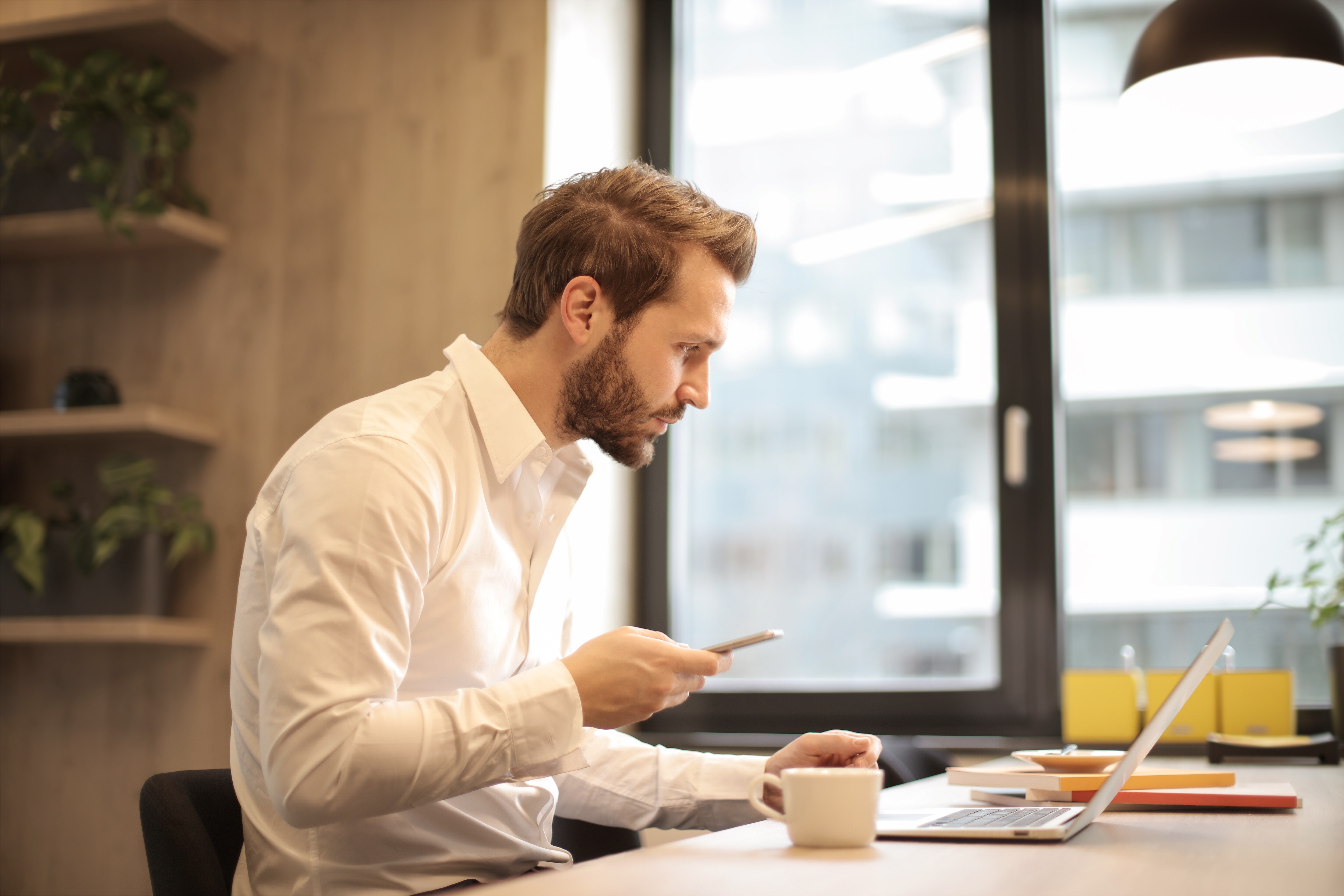 Man in White Dress Shirt, Beard, Window, Technology, Table, HQ Photo
