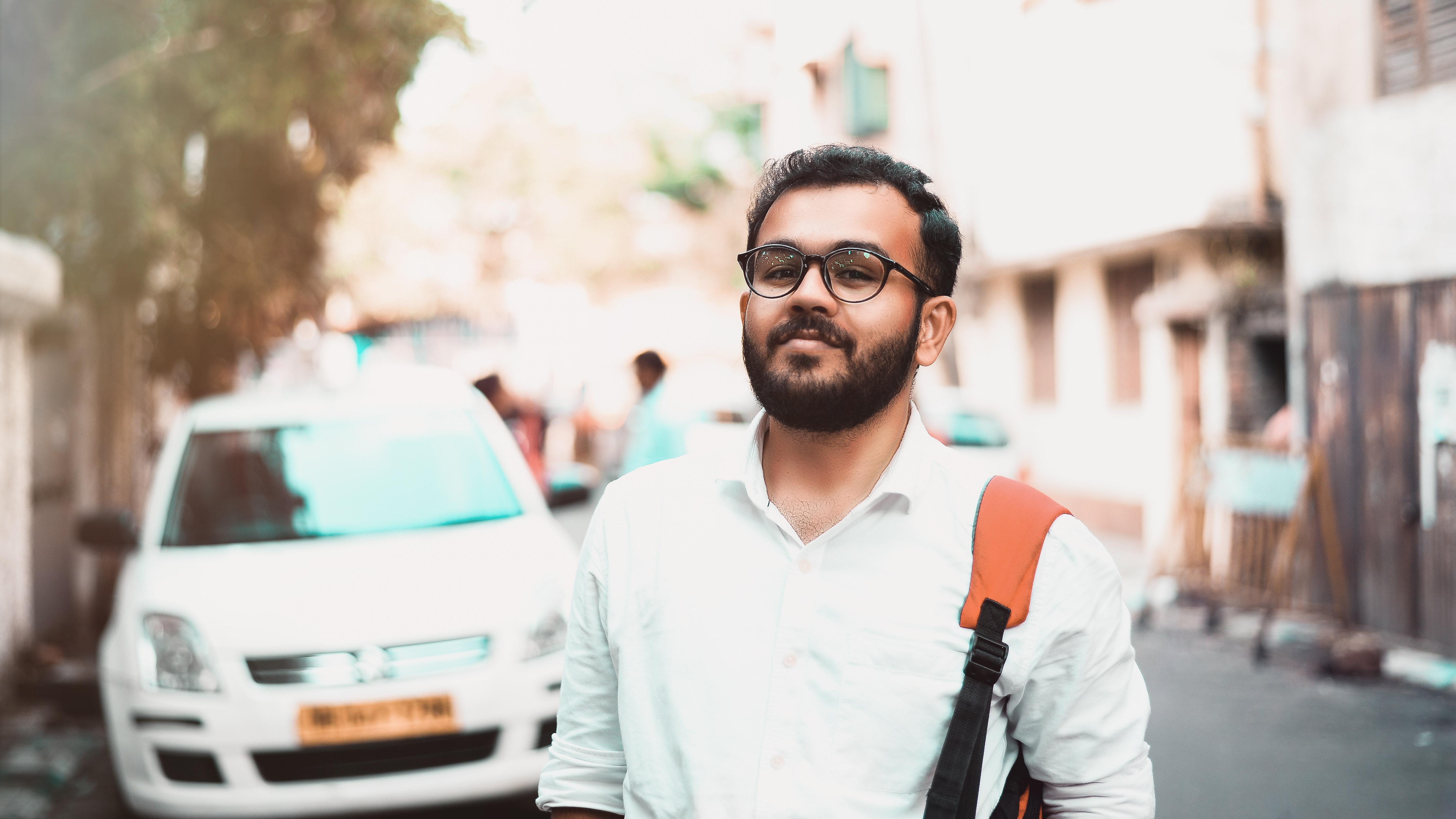 Man in White Dress Shirt, Blurred background, Car, Daylight, Eyewear, HQ Photo
