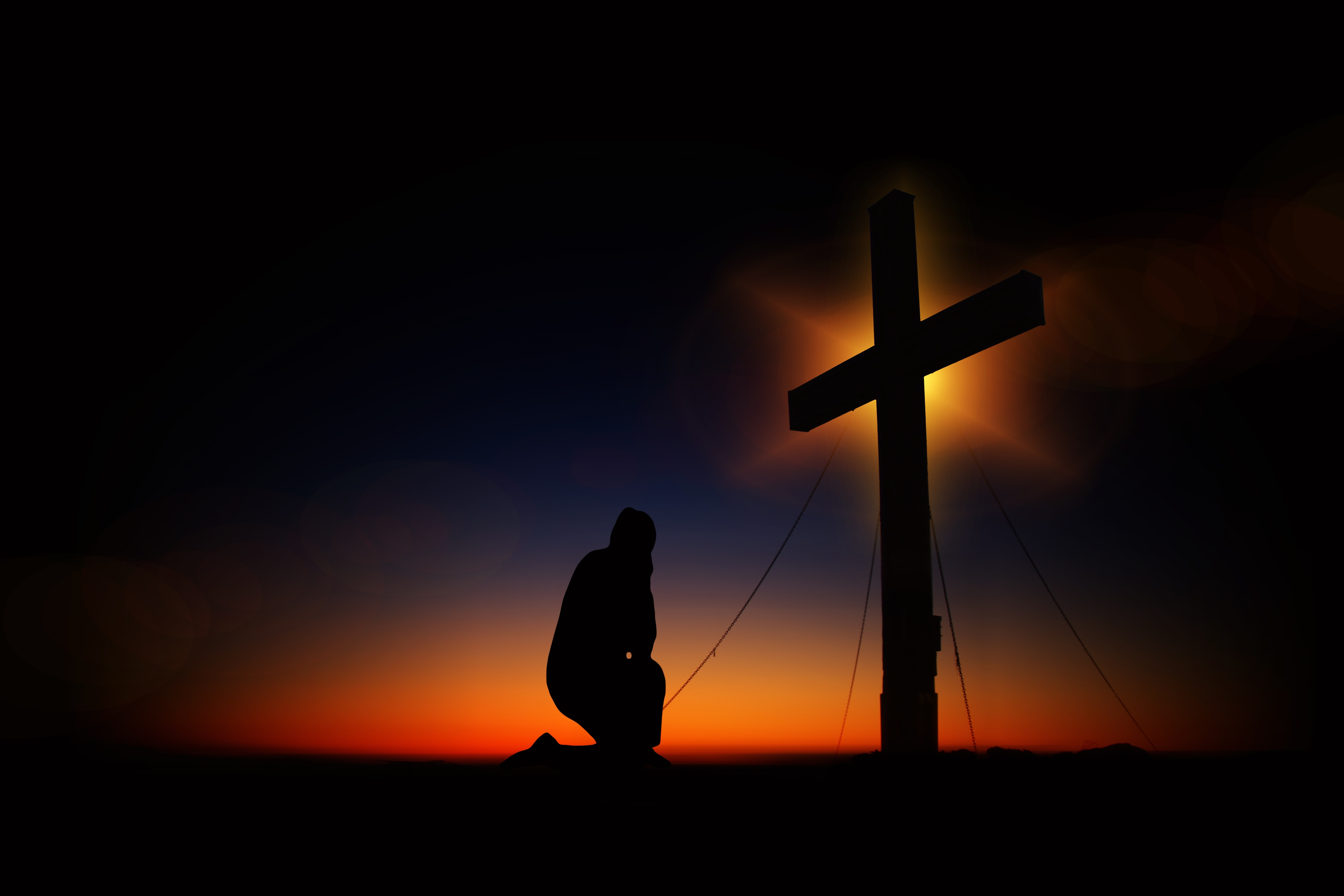 Man Kneeling in Front of Cross, Shadow, Ropes, Pray, Silhouette, HQ Photo