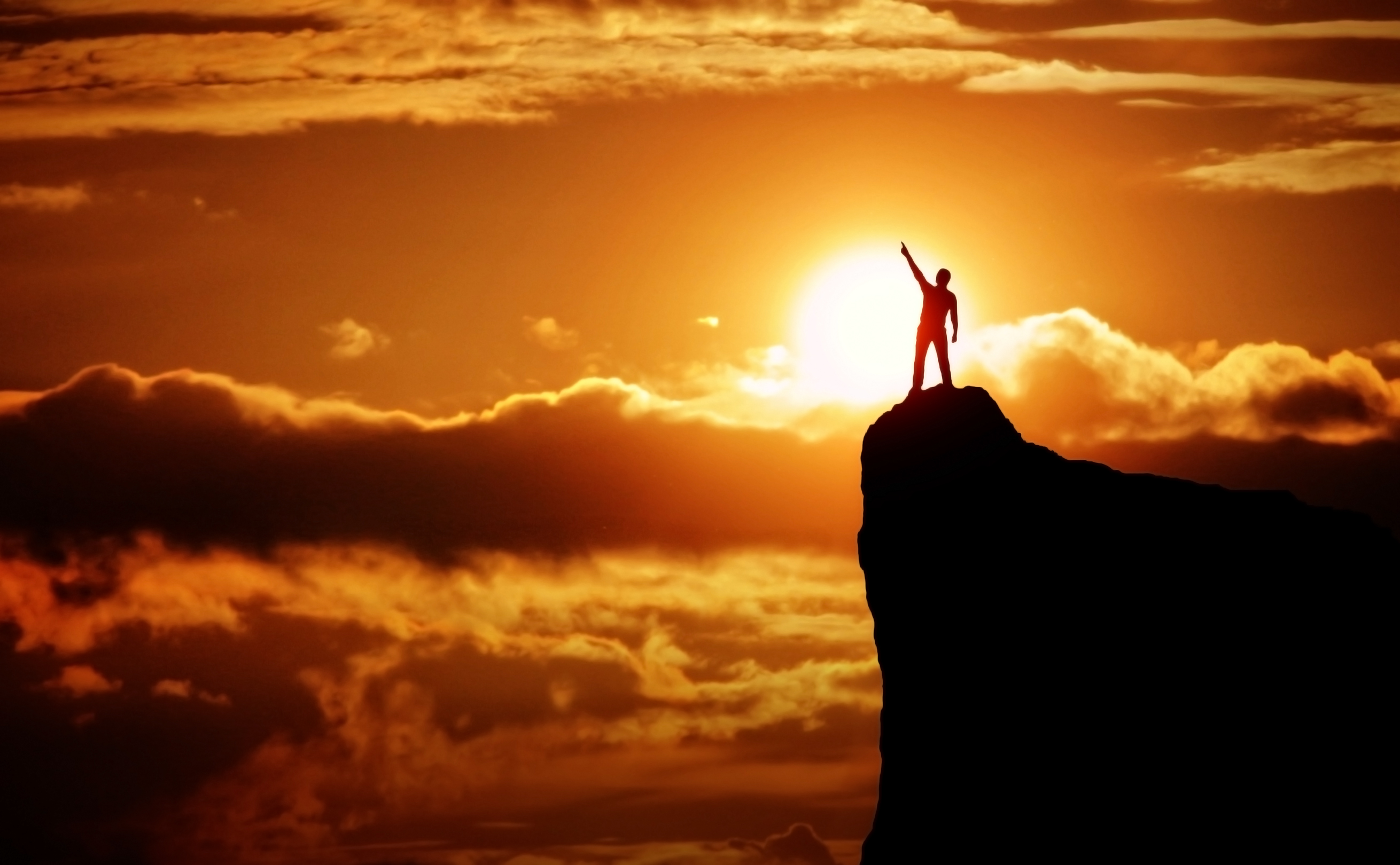 Man on the Top of the Mountain at Sunrise, Power, Person, Reaching, Rock, HQ Photo