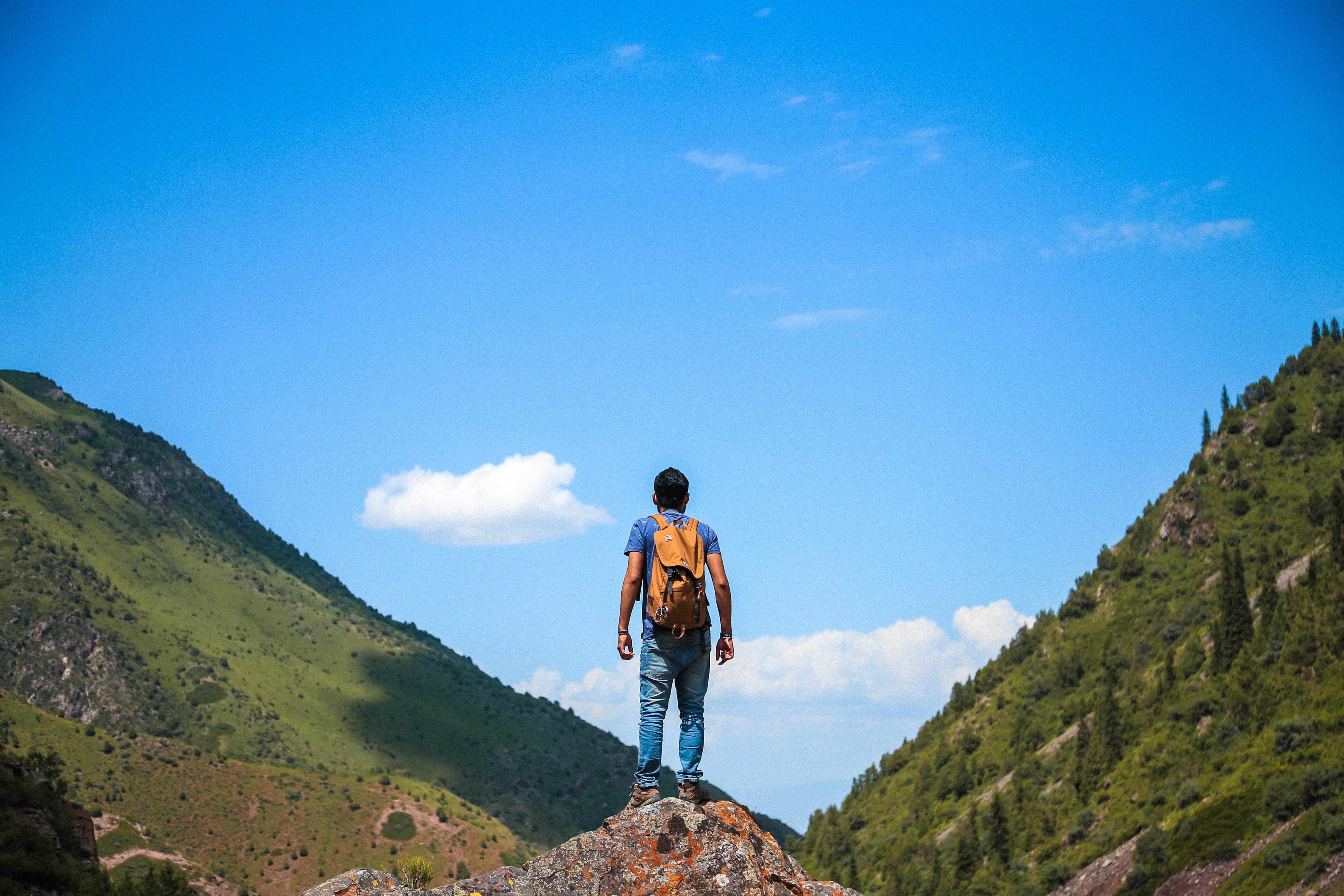 Man on Top of Mountain, Adventure, Man, Trees, Sky, HQ Photo