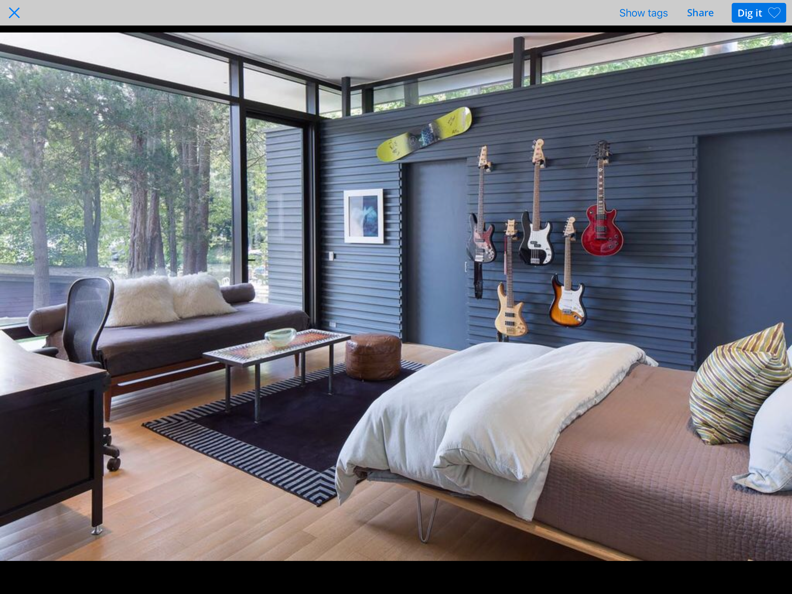 Man Cave | Guitar Display wall | Navy Walls | Metal Walls | Modern ...