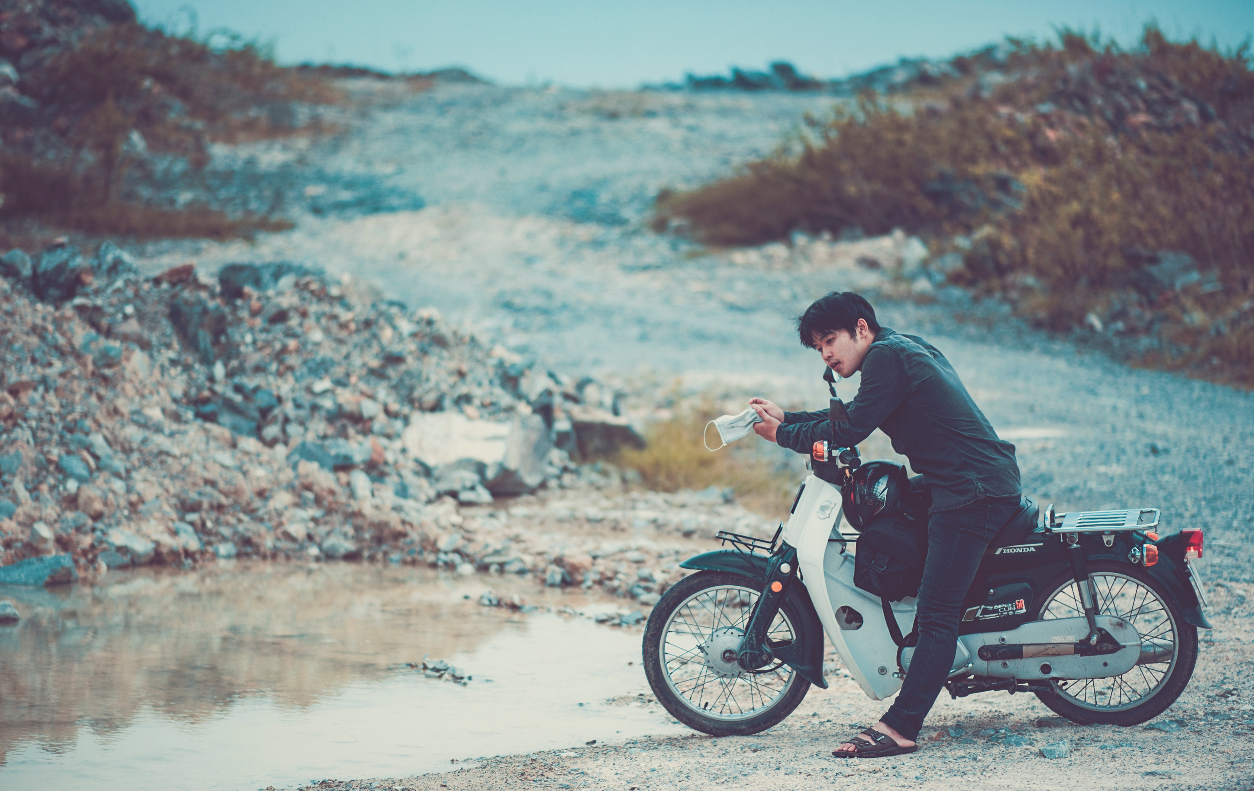 Man Riding a Motorcycle, Adult, Plants, Travel, Transportation system, HQ Photo