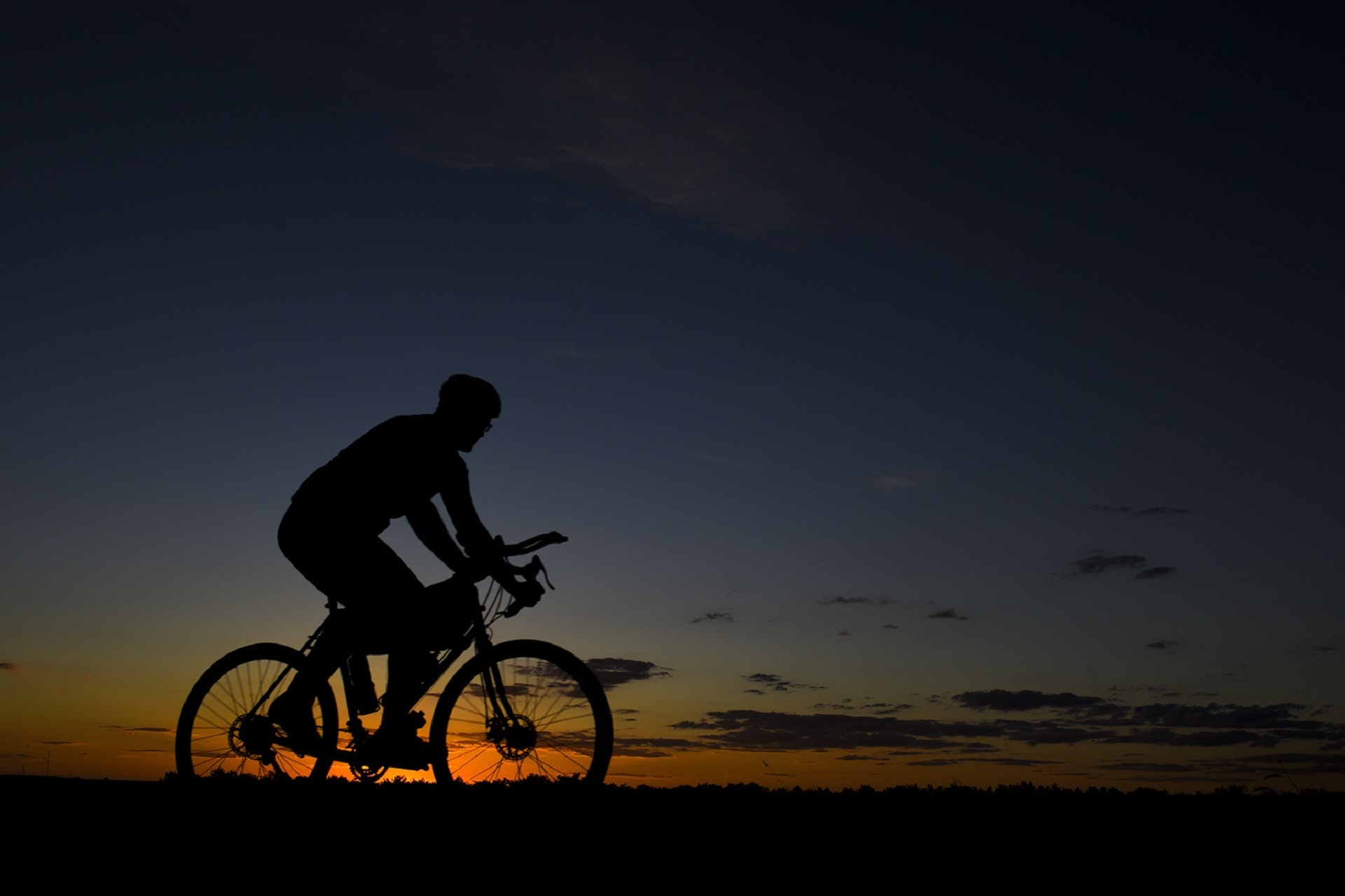 Man Riding Bicycle during Nightfall, Action, Landscape, Vehicle, Sunset, HQ Photo