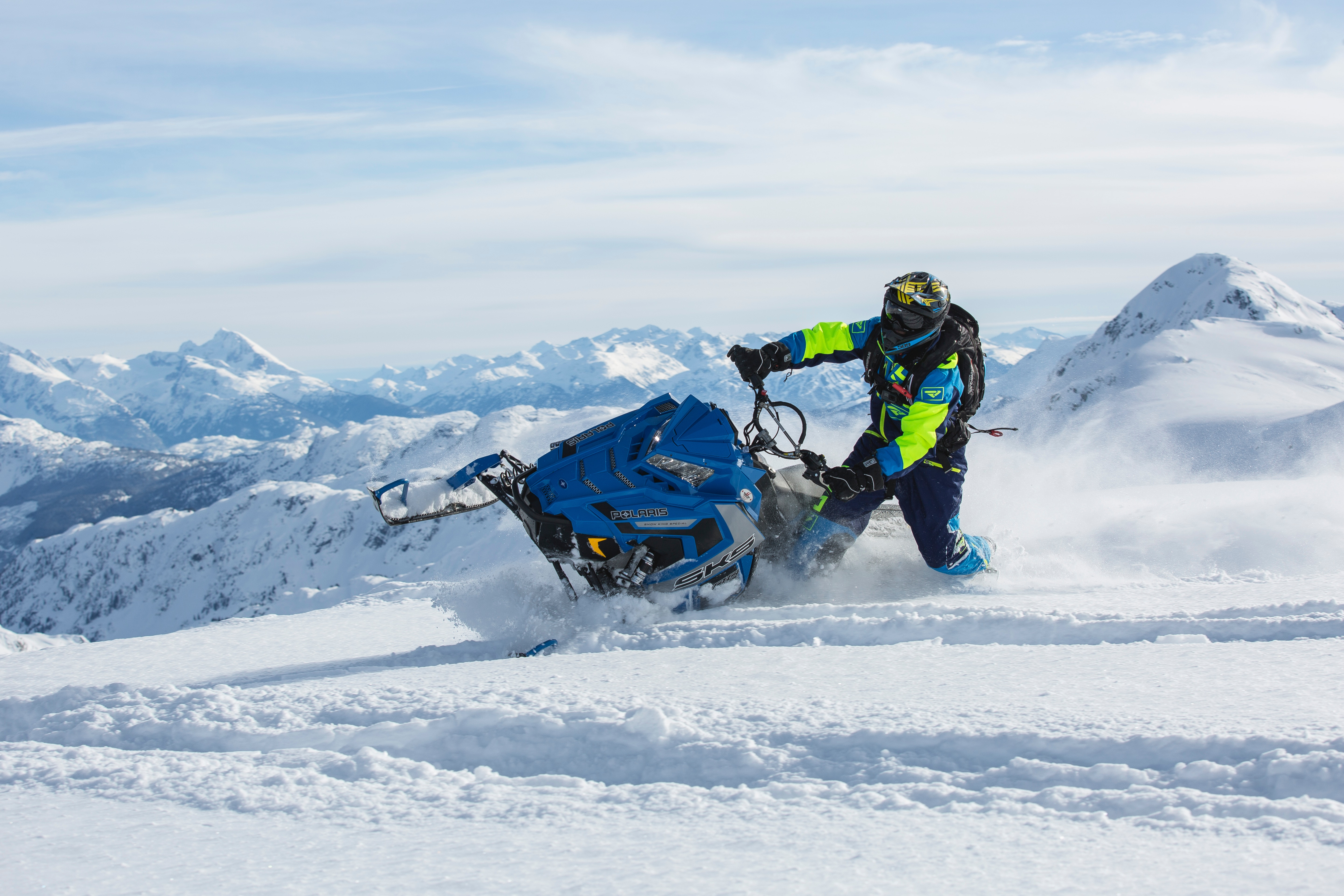 Man Riding Blue Snow Ski Scooter, Action, Snow capped mountain, Recreation, Resort, HQ Photo