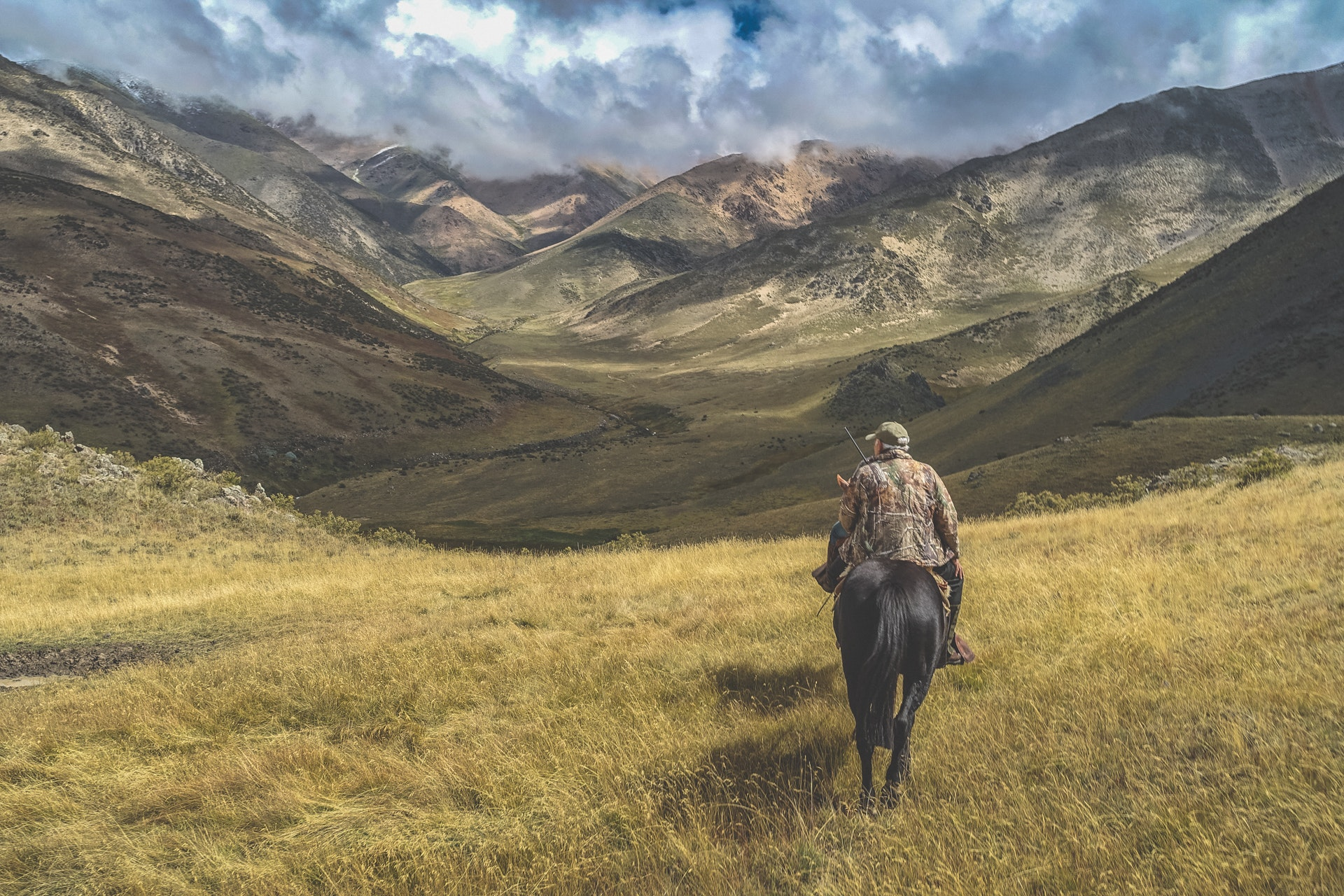 Man riding horse on grass near mountains photo
