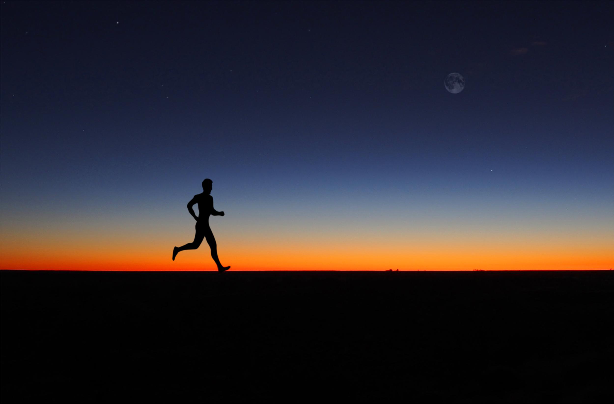 Free Photo Man Running Alone At Dawn Peace Panorama