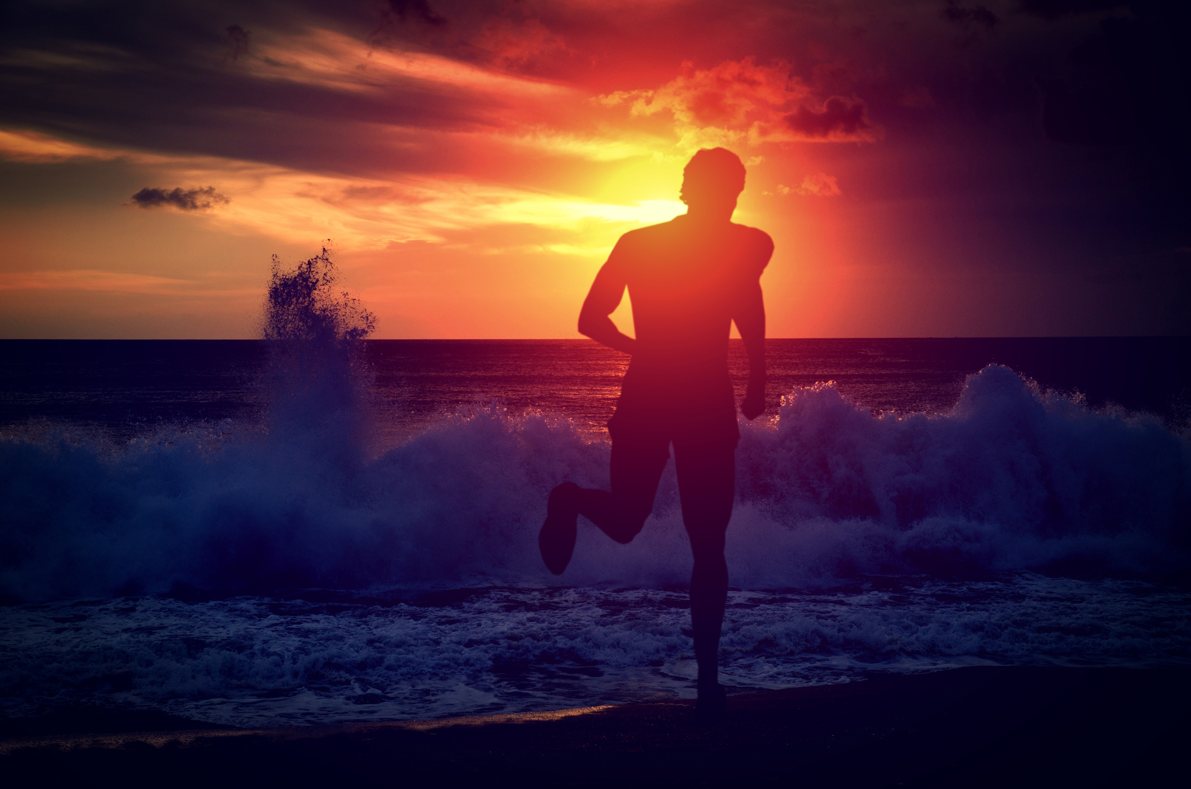 Man running on the beach at sunset, Red, Recreation, Rally, Person, HQ Photo