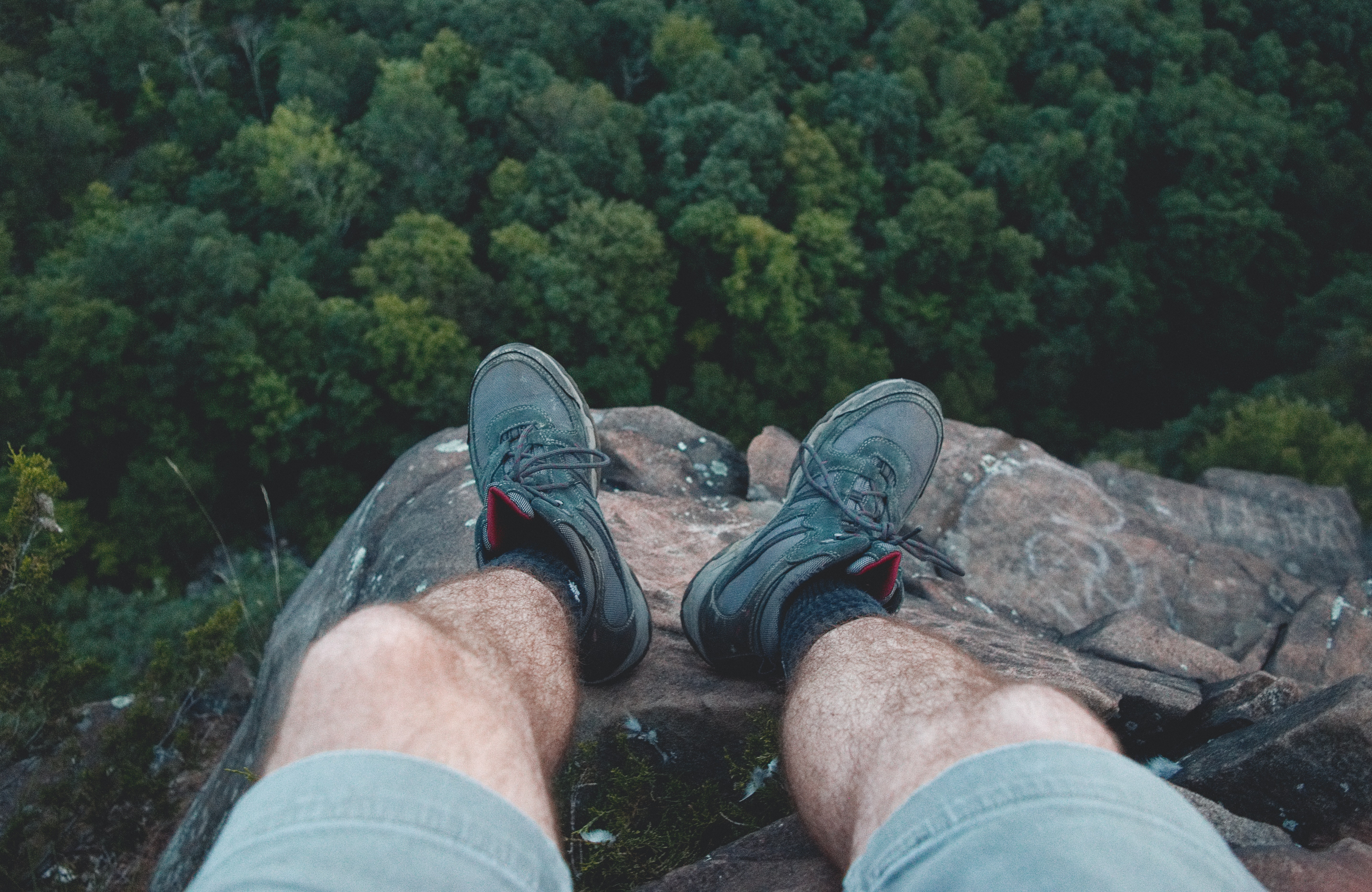 Man Standing on Edge of Mountain, Cliff, Outdoors, View, Trees, HQ Photo