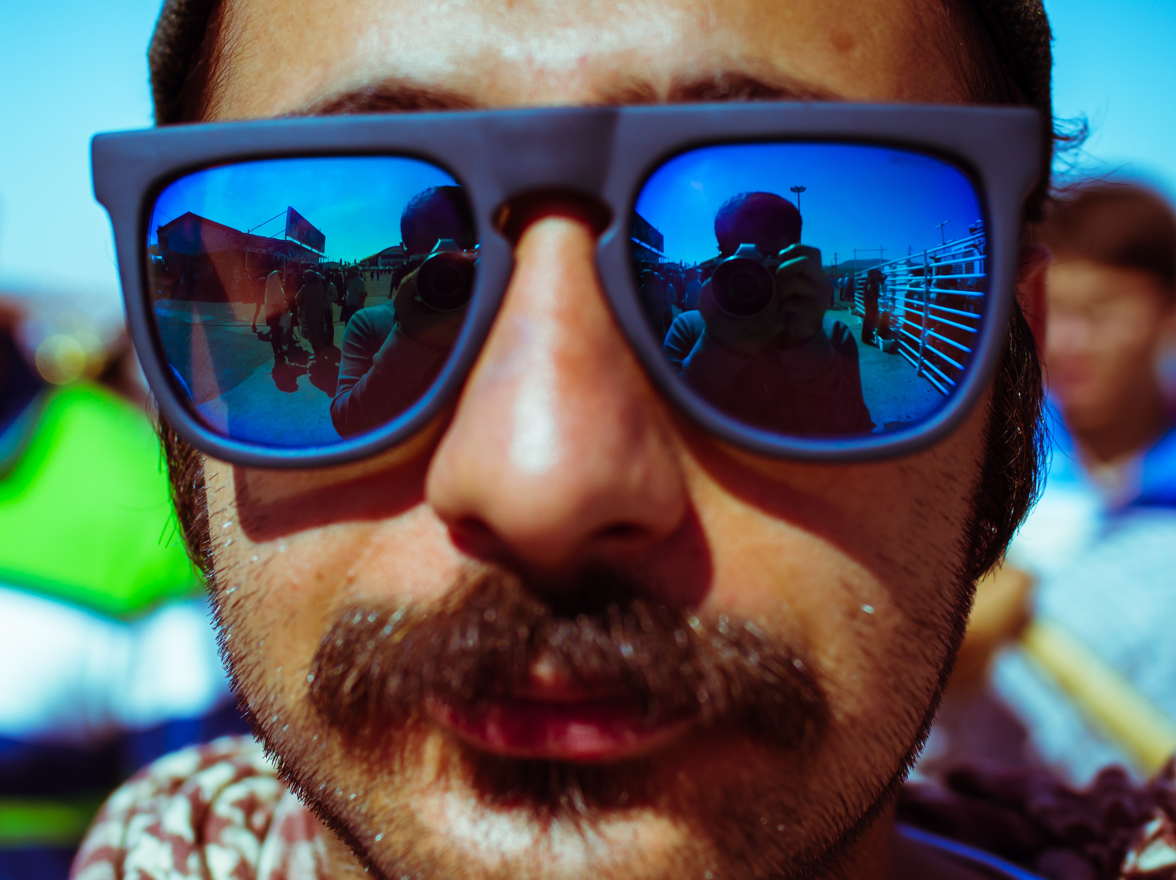 Man Wearing Black Framed Sunglasses, Close-up, Daylight, Eyewear, Face, HQ Photo