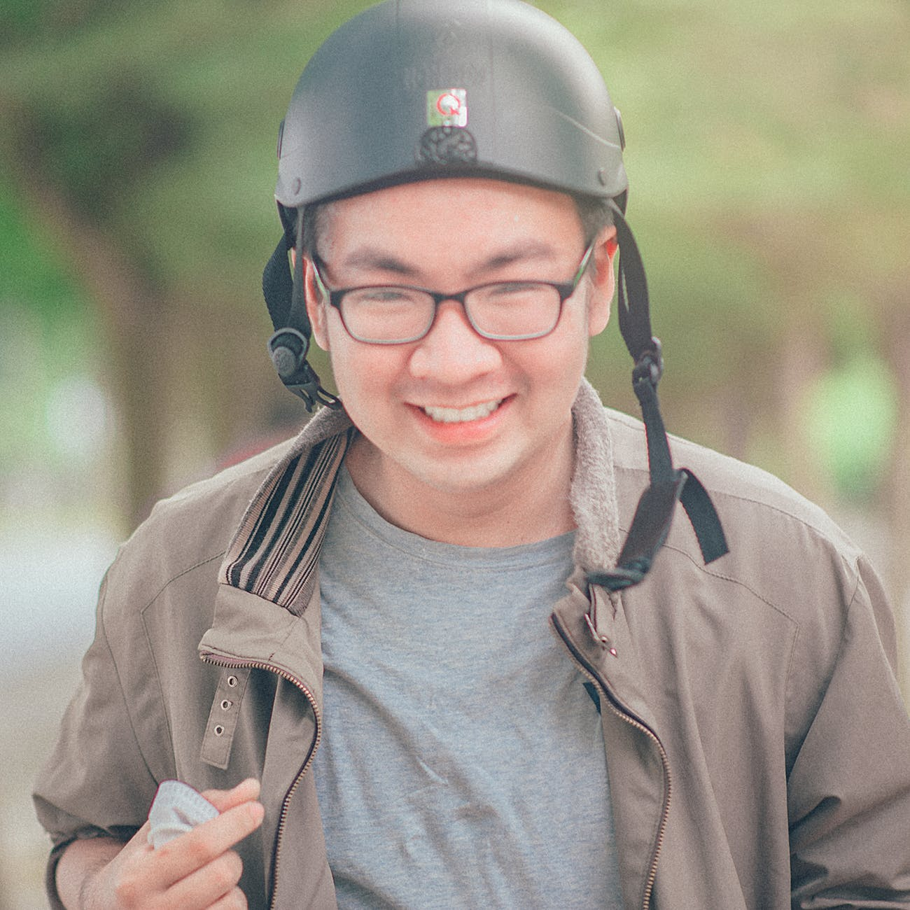Man wearing black helmet photo