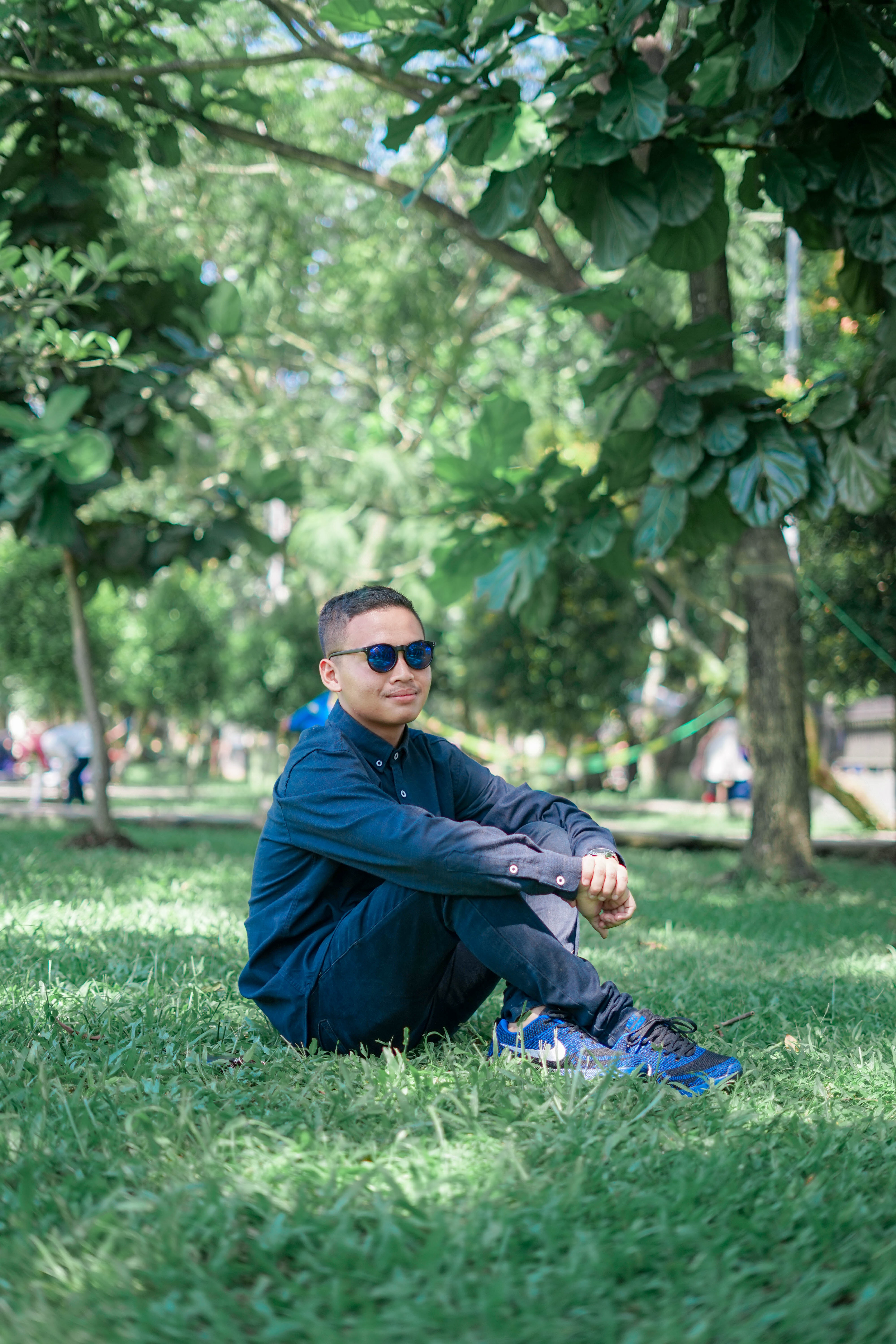 Man Wearing Blue Dress Shirts Seating on Grass, Daytime, Park, Wear, Trees, HQ Photo