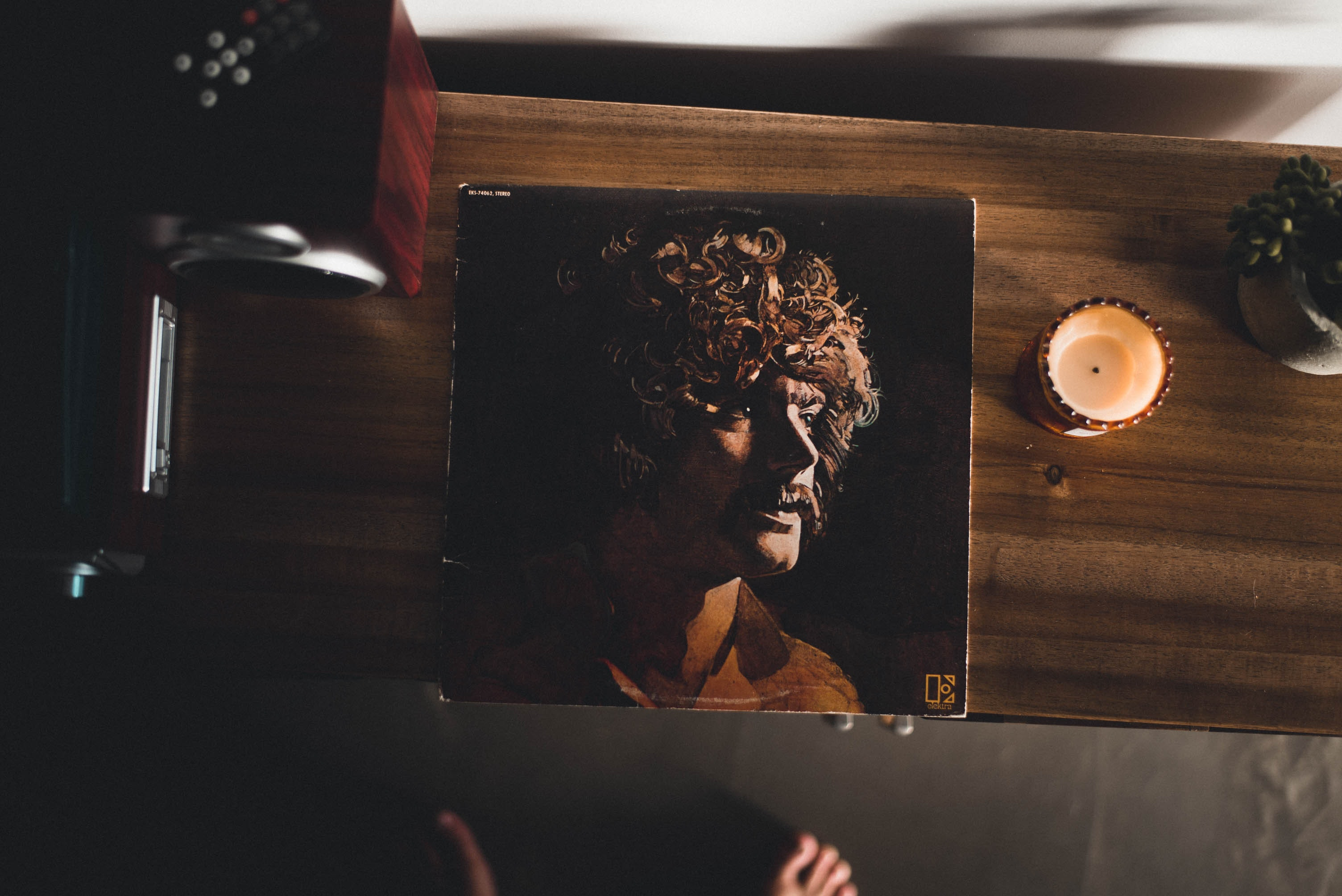Man Wearing Brown Collared Shirt Photo on Brown Wooden Cabinet, Adult, Man, Vinyl, Table, HQ Photo