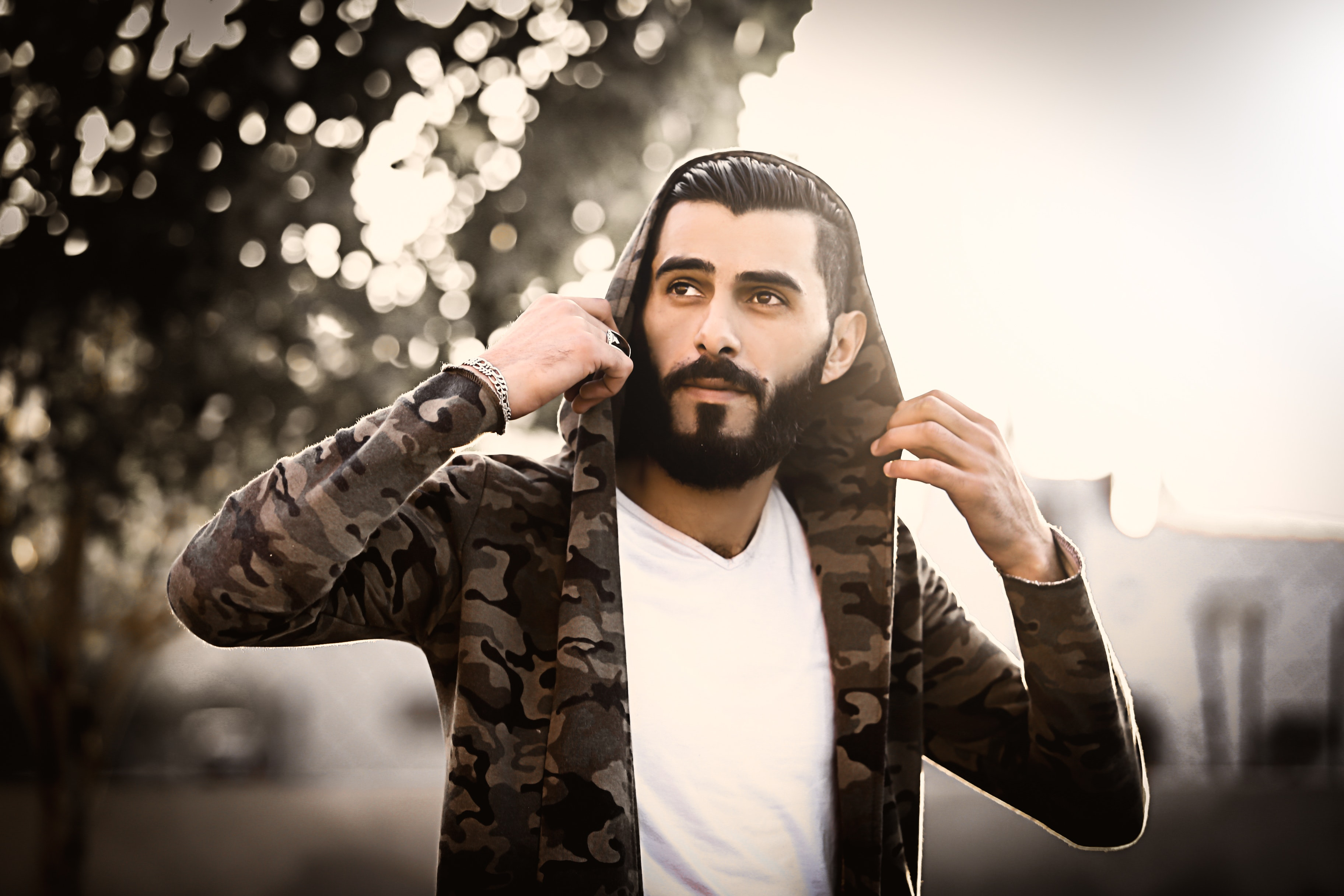 Man Wearing Camouflage Hoodie and White Shirt, Adult, Man, Urban, Tree, HQ Photo