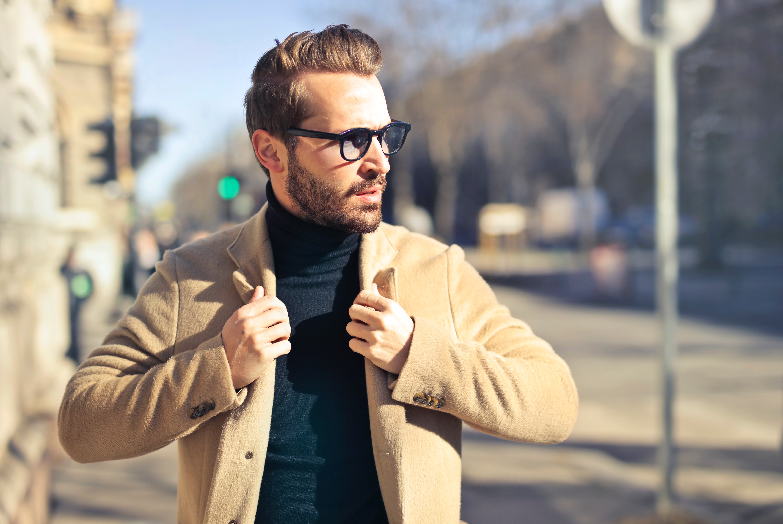Man Wearing Eyeglasses and Brown Jacket, Beard, Outdoors, Wear, Urban, HQ Photo