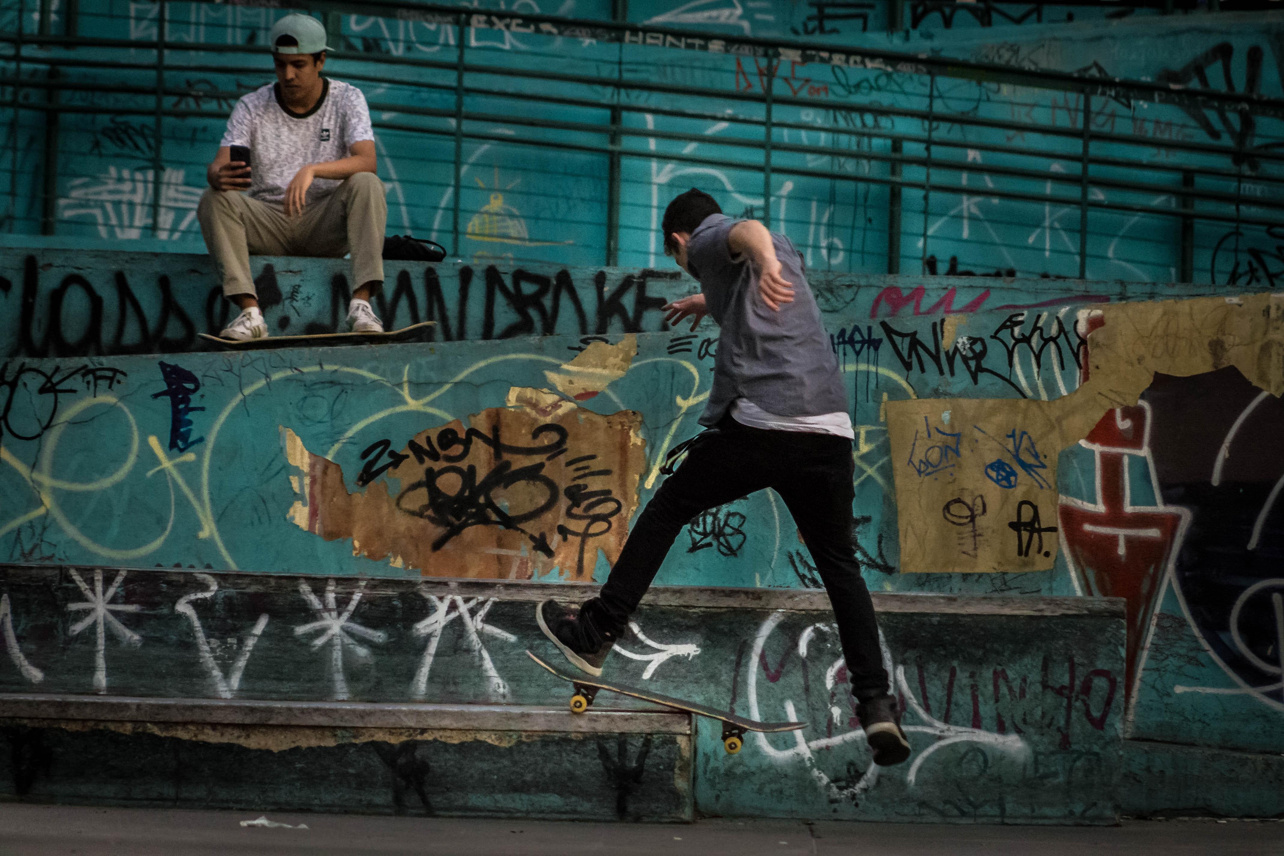 Man Wearing Geay Shirt Playing Skateboard, Action, Skate, Vandalism, Urban, HQ Photo