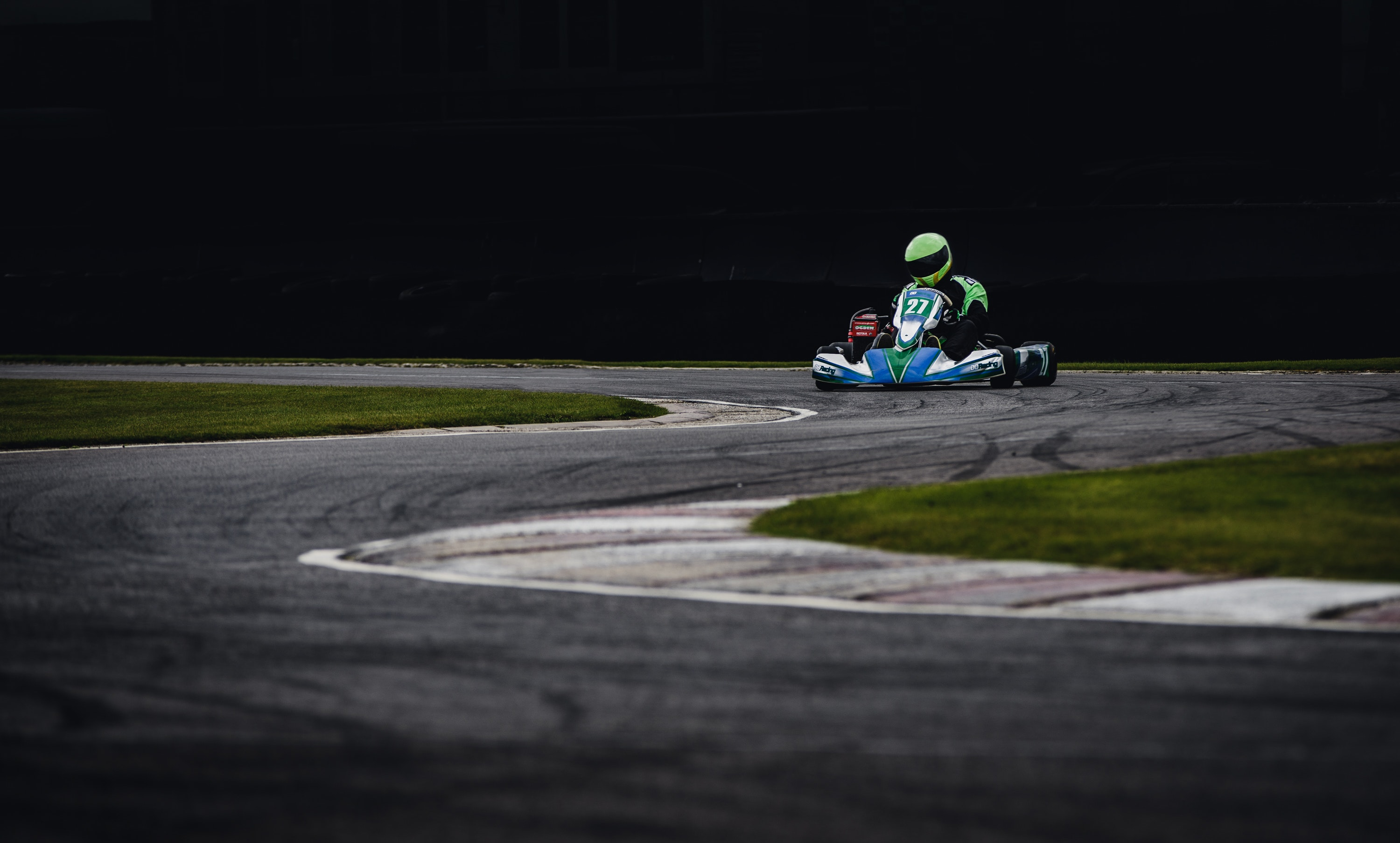 Man Wearing Green Helmet Riding Go Kart, Action, Outdoors, Vehicle, Track, HQ Photo