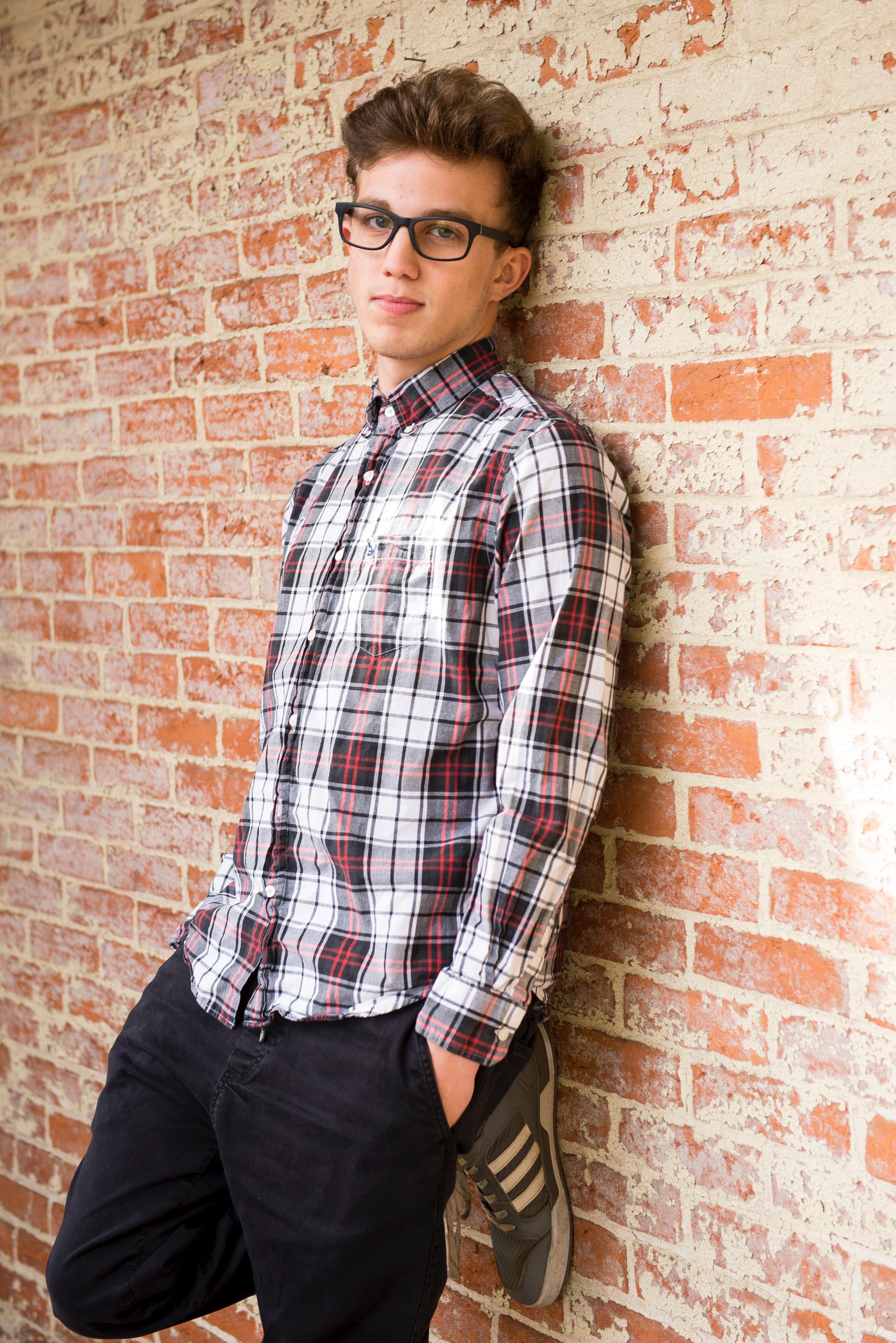 Man Wearing Plaid Dress Shirt And Black Pants, Brick wall, Shirt, Young, Wear, HQ Photo