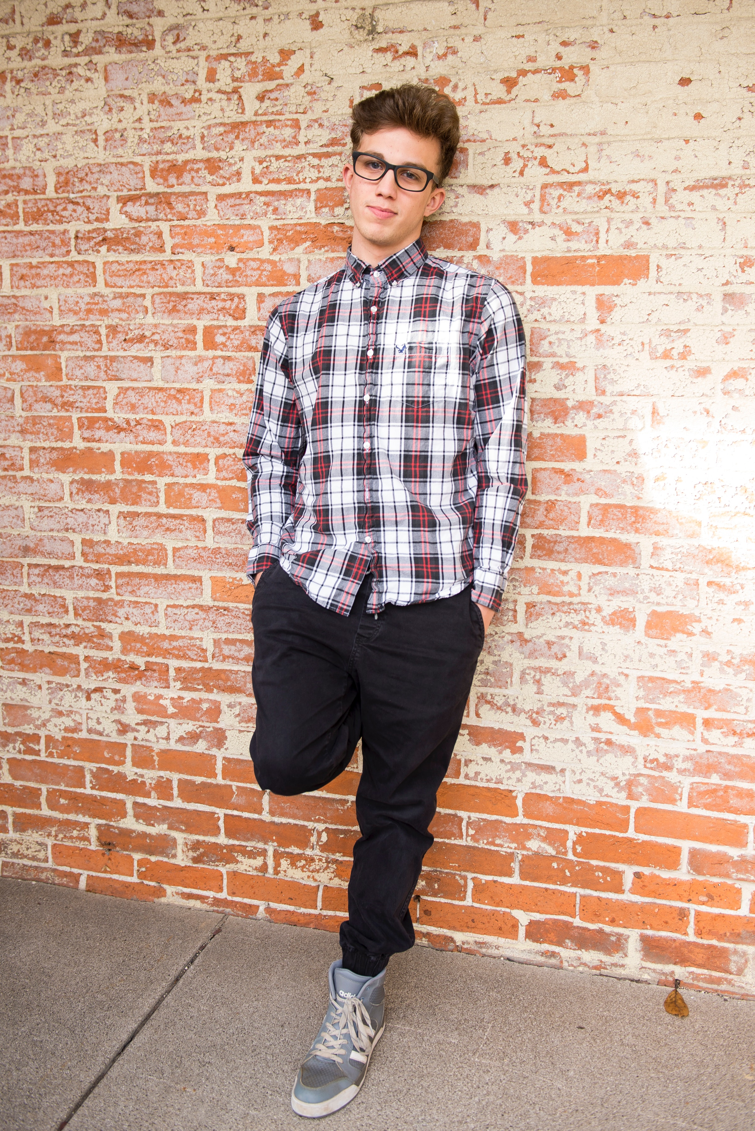 Man Wearing Red And White Plaid Dress Shirt And Black Pants, Boy, Pants, Young, Wear, HQ Photo