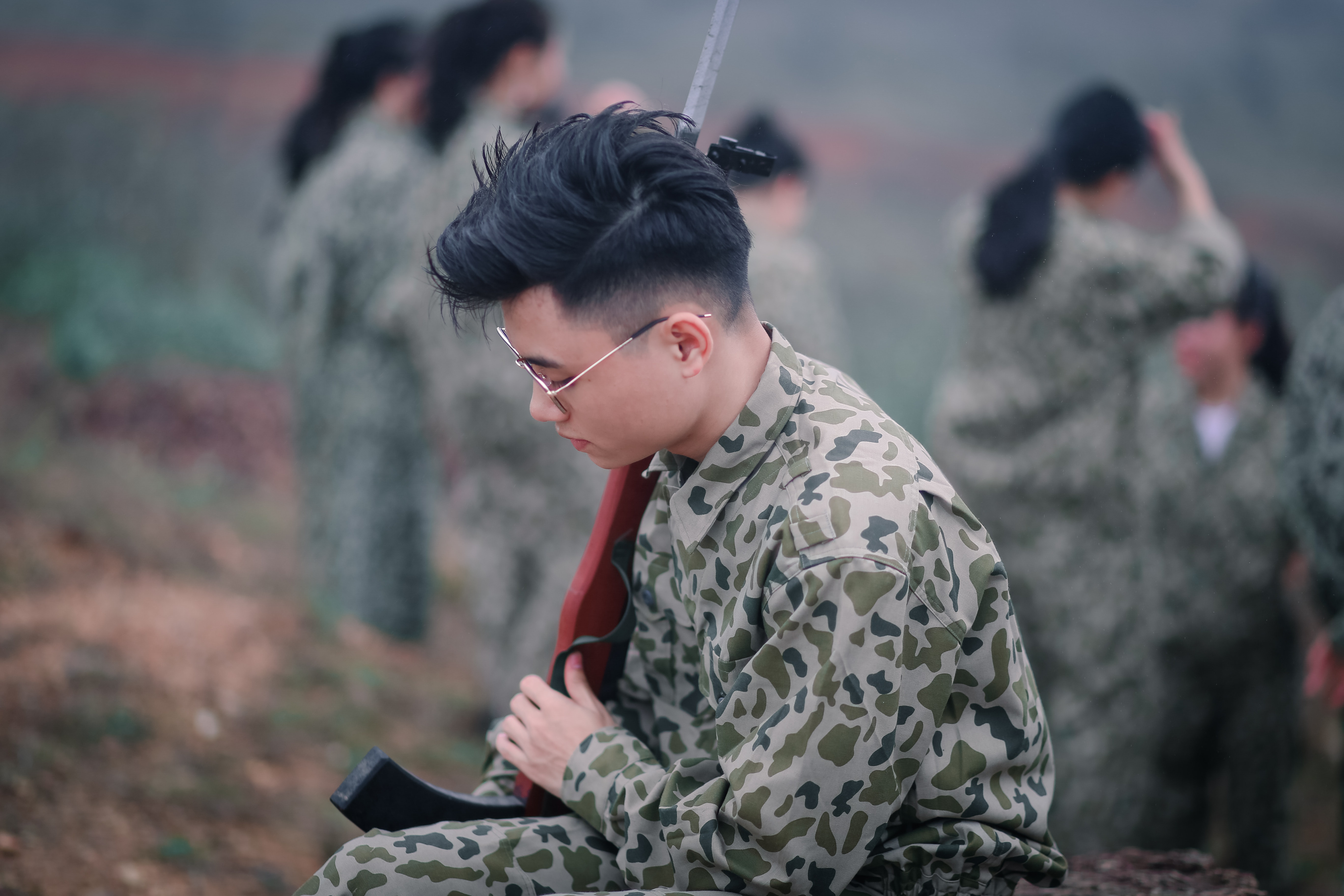 Man Wearing Sunglasses Holding Rifle, Army, Boy, Man, Military, HQ Photo