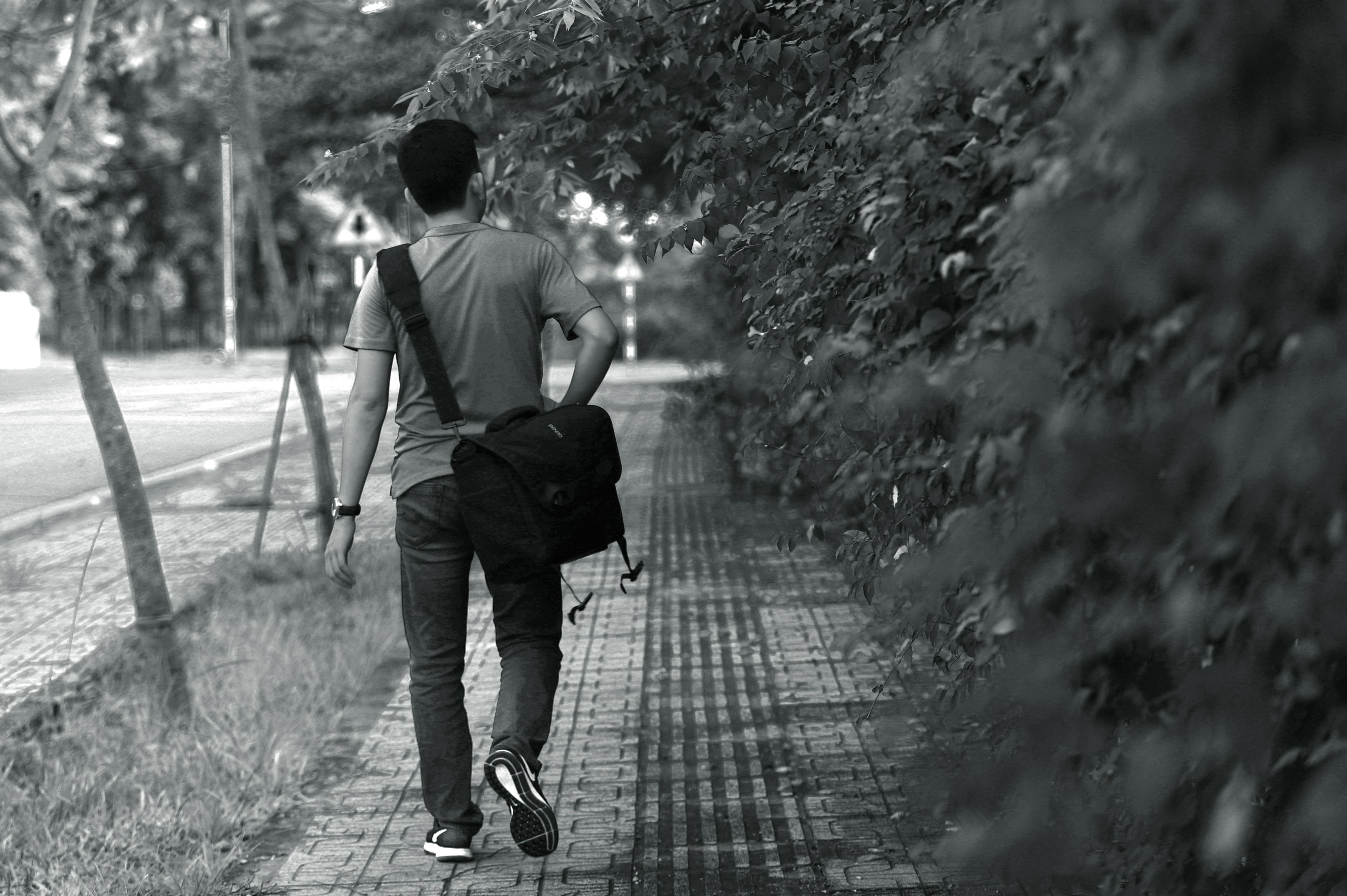 Man Wearing T-shirt; Pants; Crossbody Bag, Adult, Bag, Black-and-white, Boy, HQ Photo