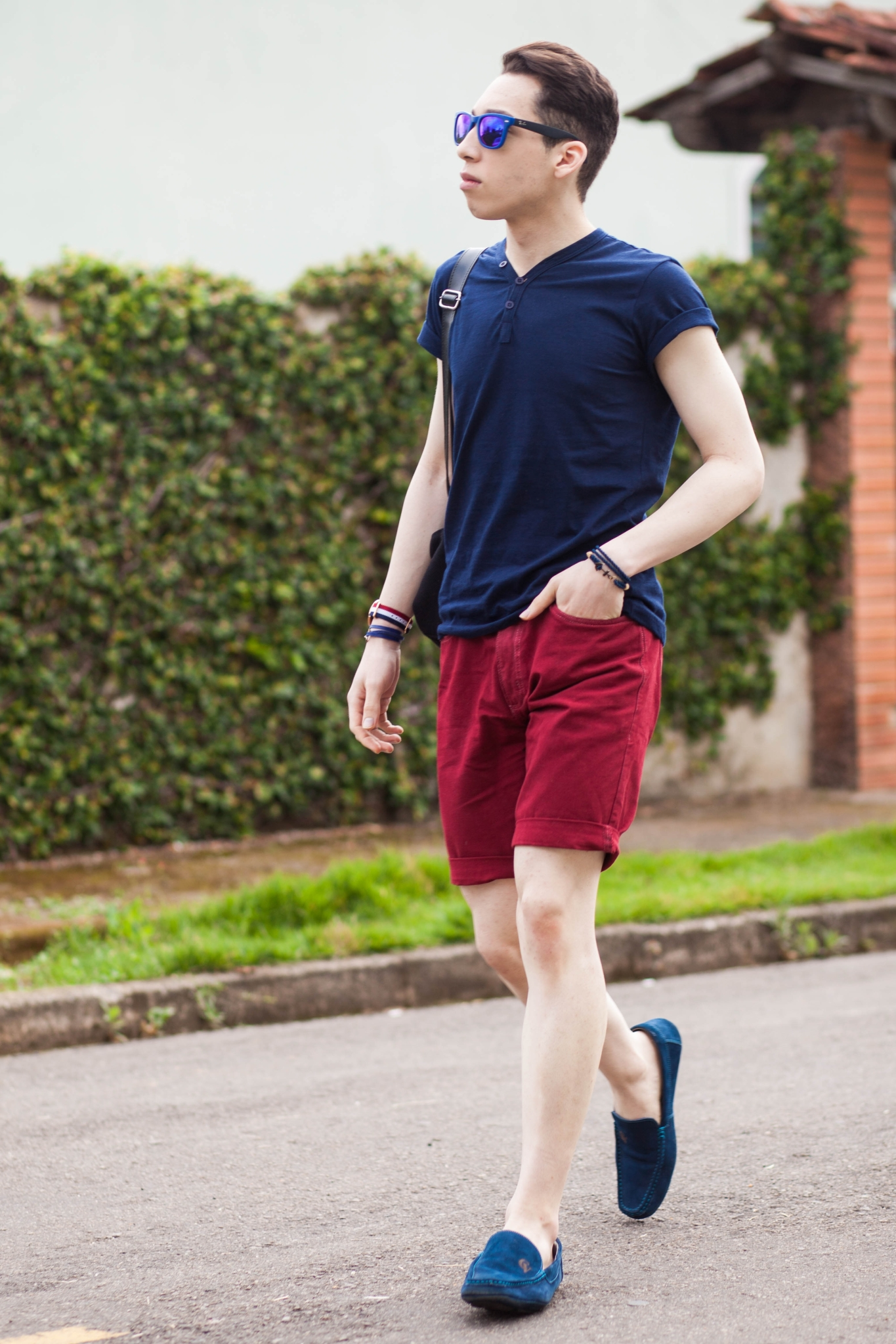 Men's Navy Henley Shirt, Burgundy Shorts, Navy Suede Driving Shoes ...