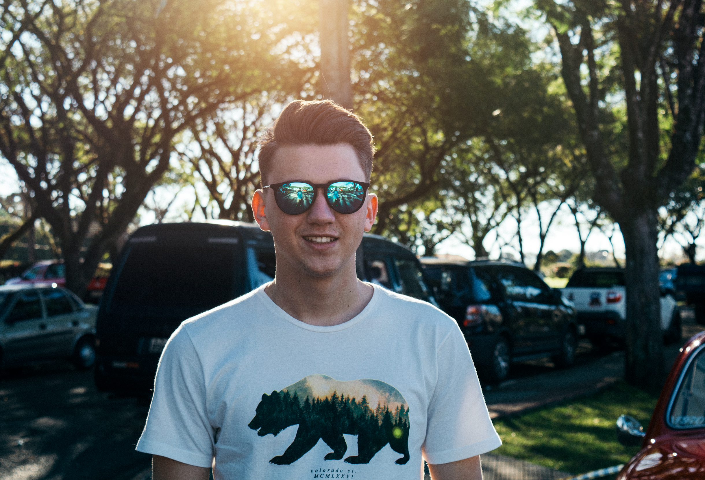 Man Wearing White and Black Bear Printed Shirt and Sunglasses, Adult, Park, Wear, Vehicles, HQ Photo